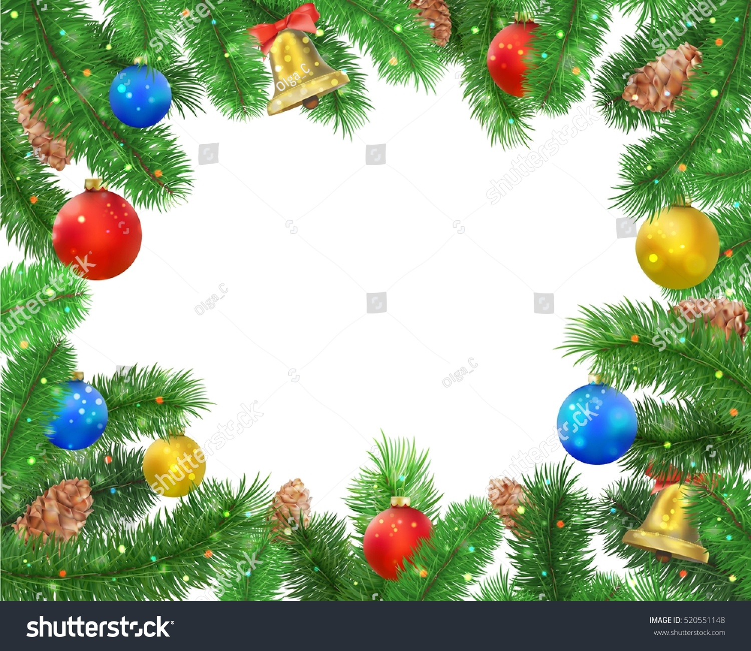 Christmas background fir tree branches pine stock vector for Red and yellow christmas tree