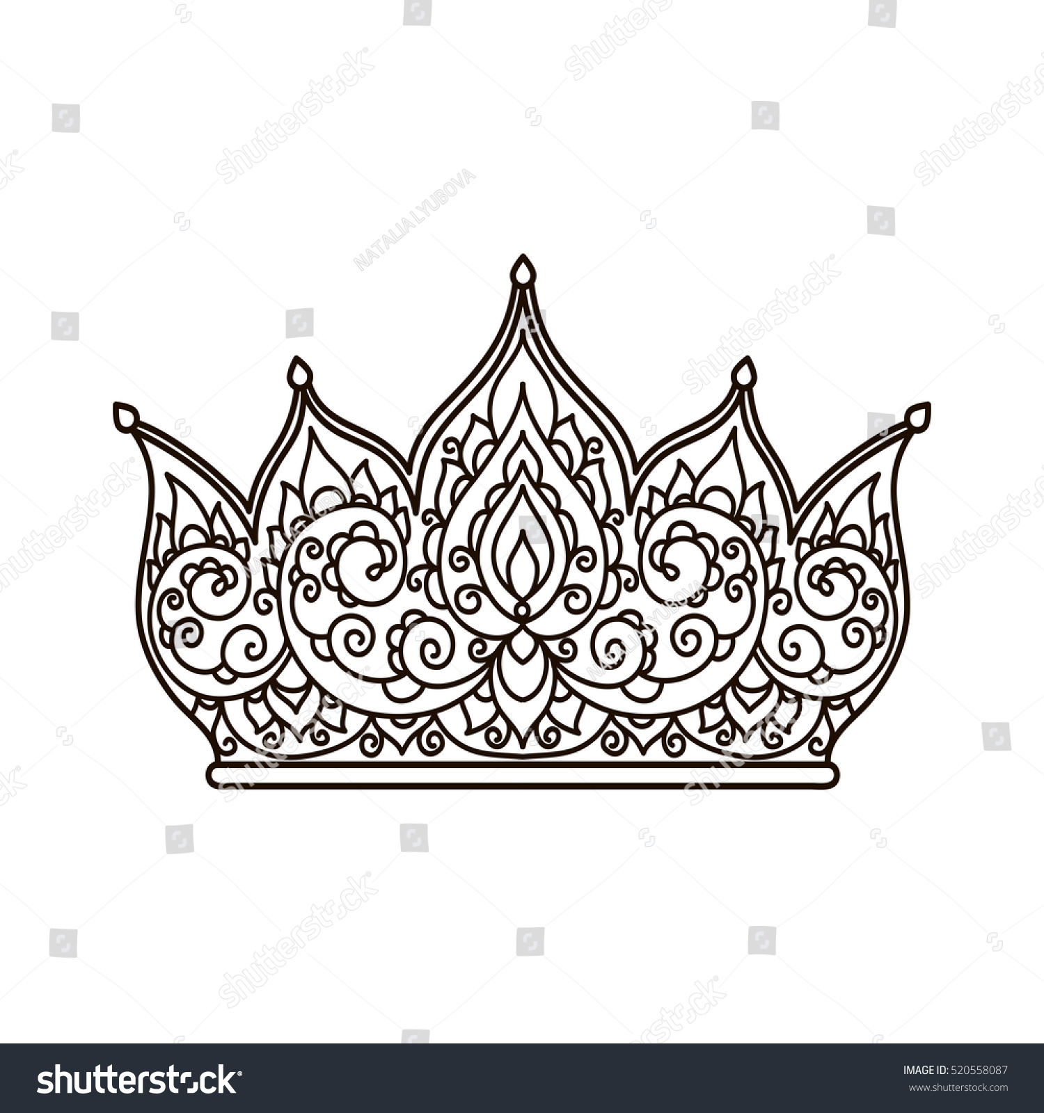 Vector Illustration Outline Crown Coloring Page Stock Vector ...