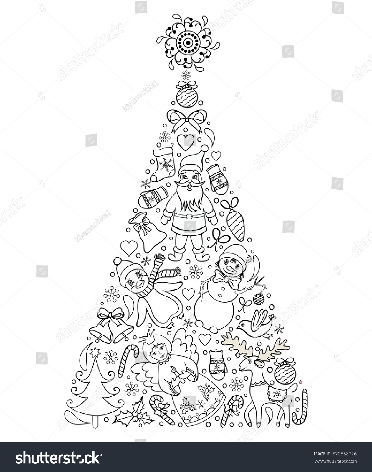 Vector Illustration Hand Drawn Christmas Tree Coloring Stock 520558726