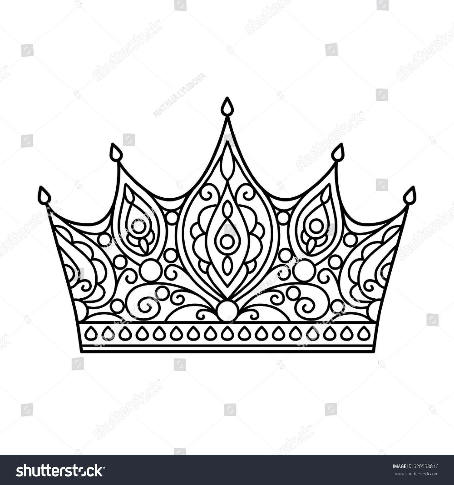 100 coloring pages crown paper crown party favor template