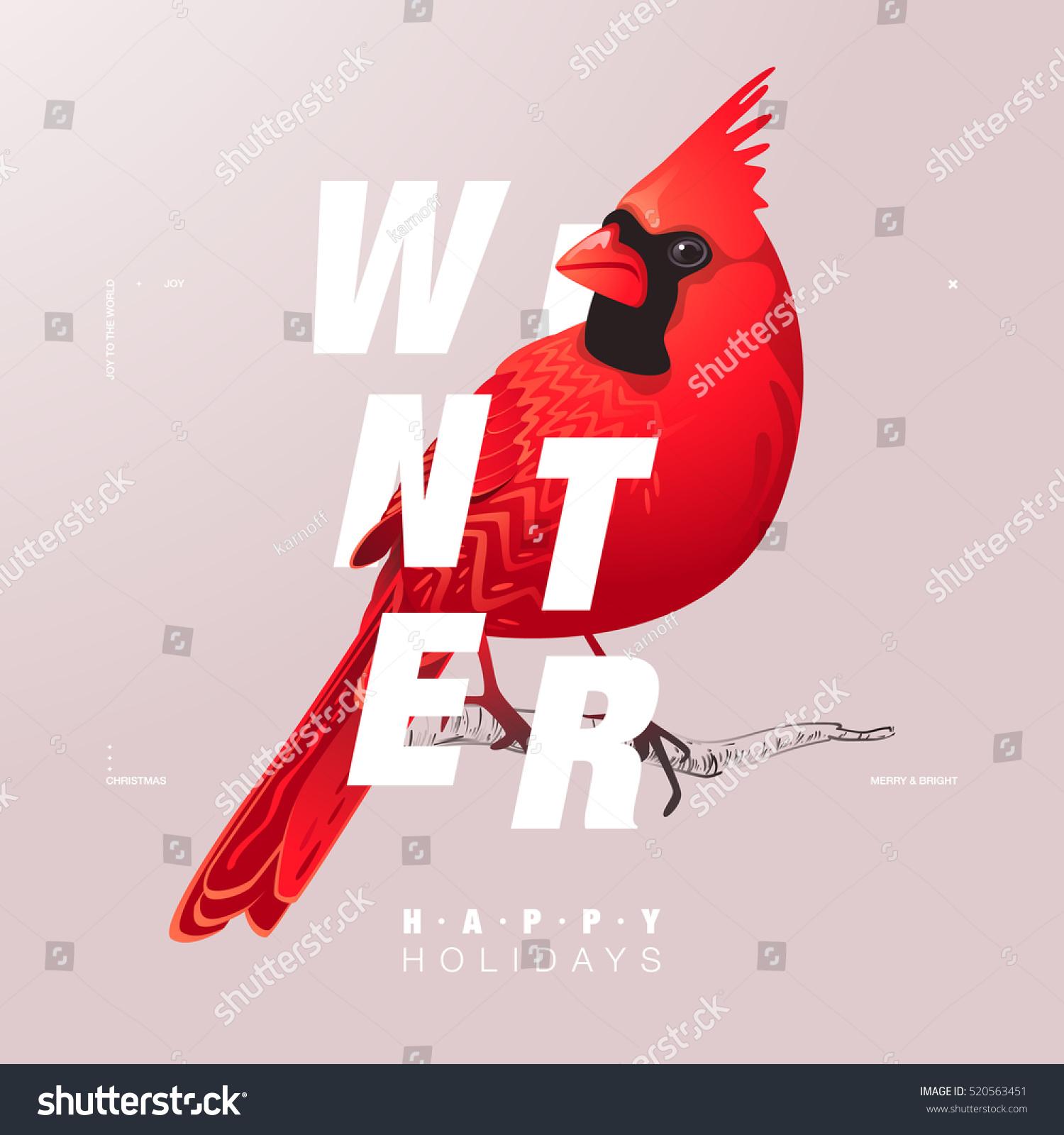 Christmas Winter Bird Illustration Modern Typography Stock Vector ...