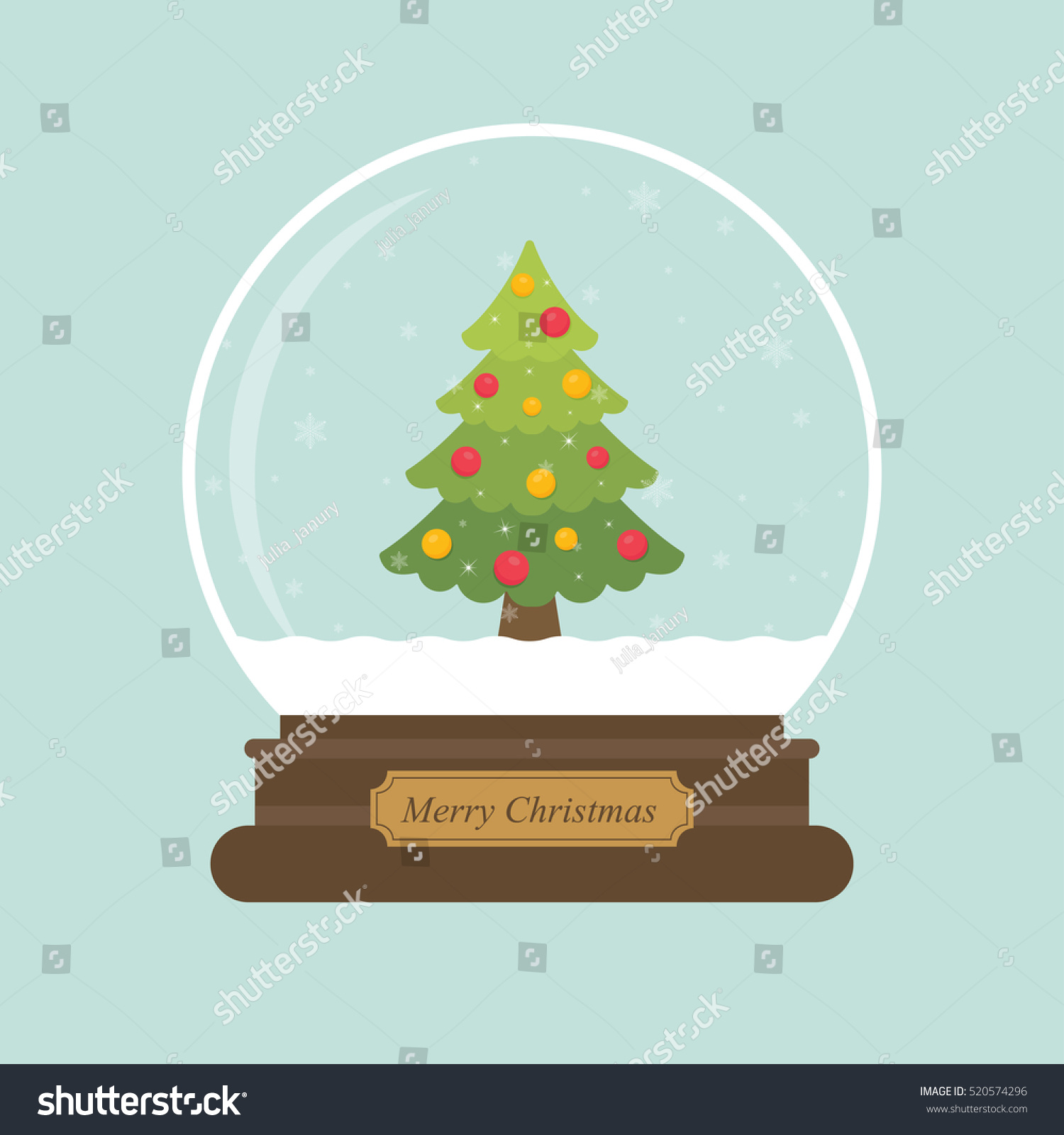 cartoon christmas snowglobe fir tree stock vector 520574296