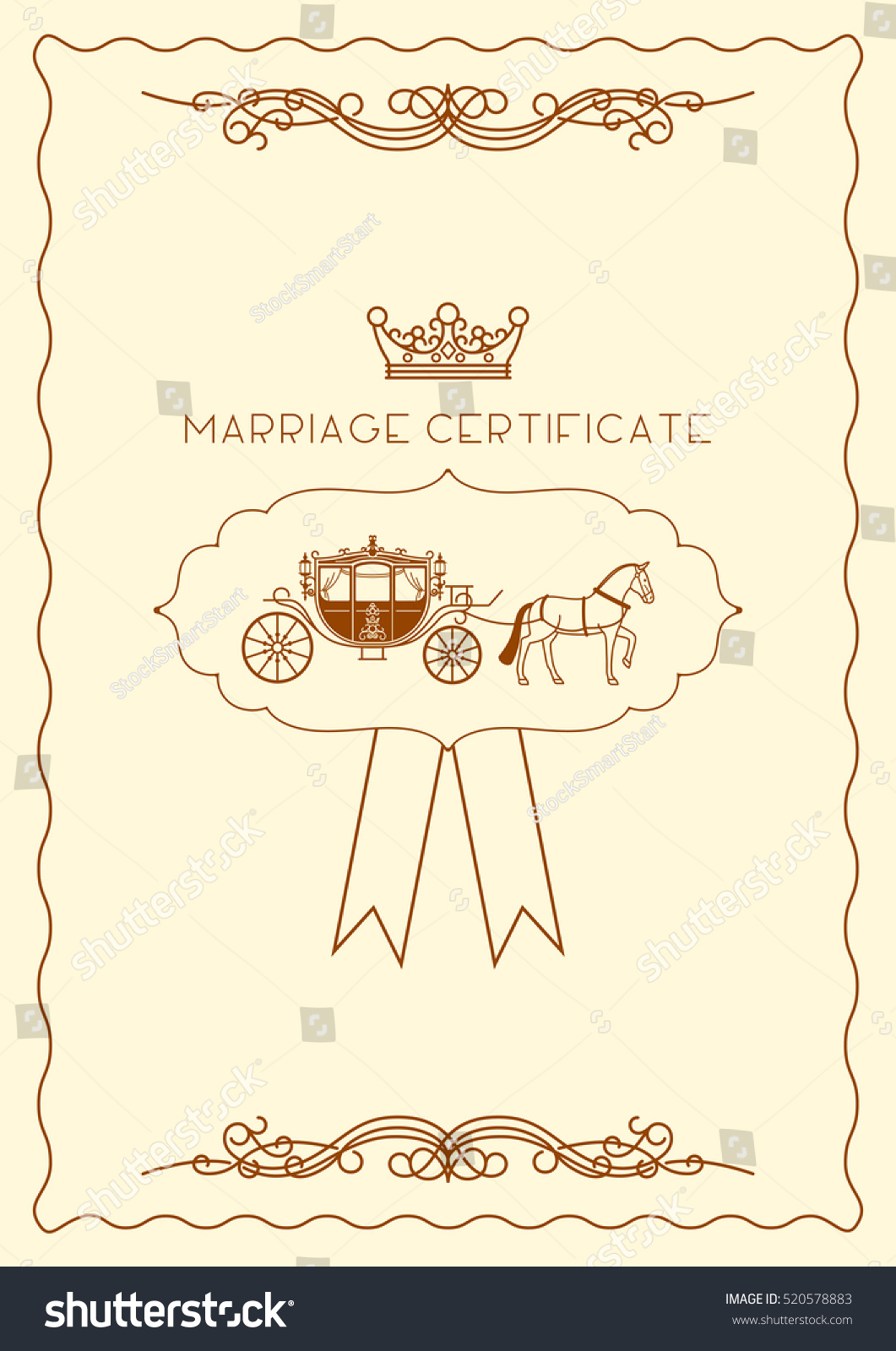 Marriage Certificate Document Template Design Vector Stock Vector