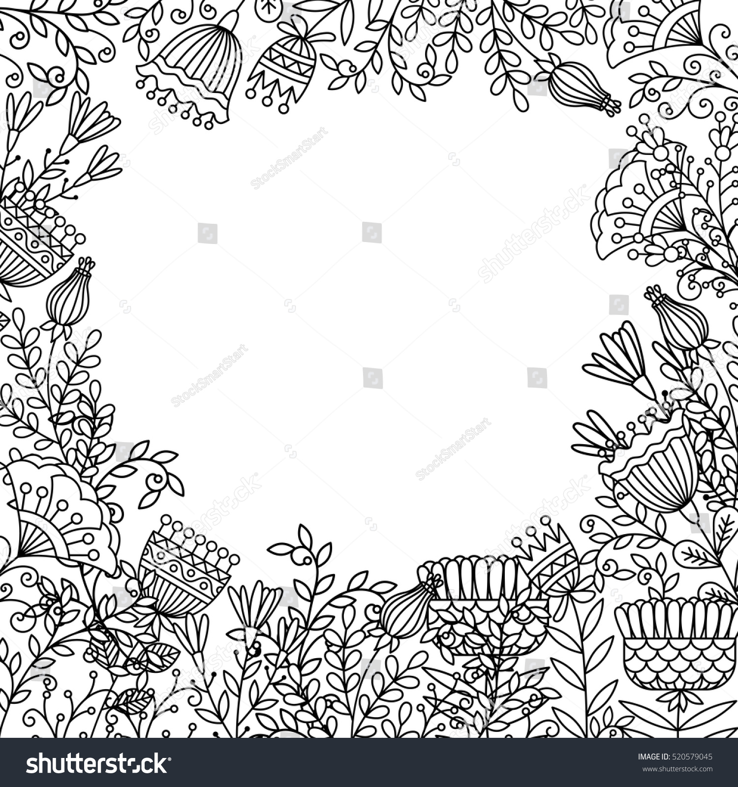 coloring page design doodle flowers space stock vector 520579045