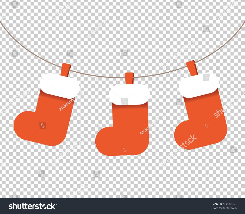 Christmas socks garland vector isolated clipart stock