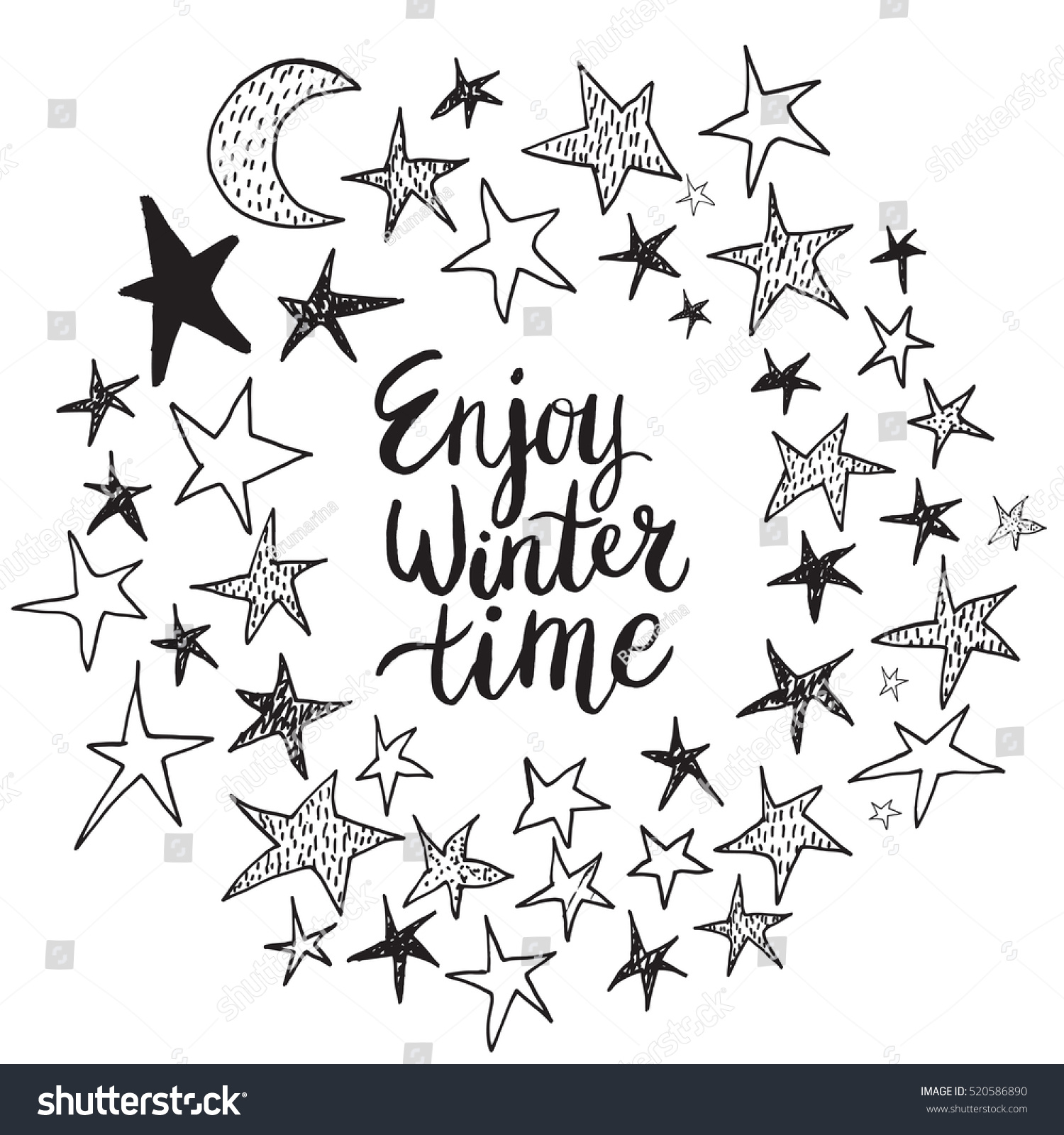 Christmas Card Template Hand Drawn Lettering Stock Vector 520586890 ...