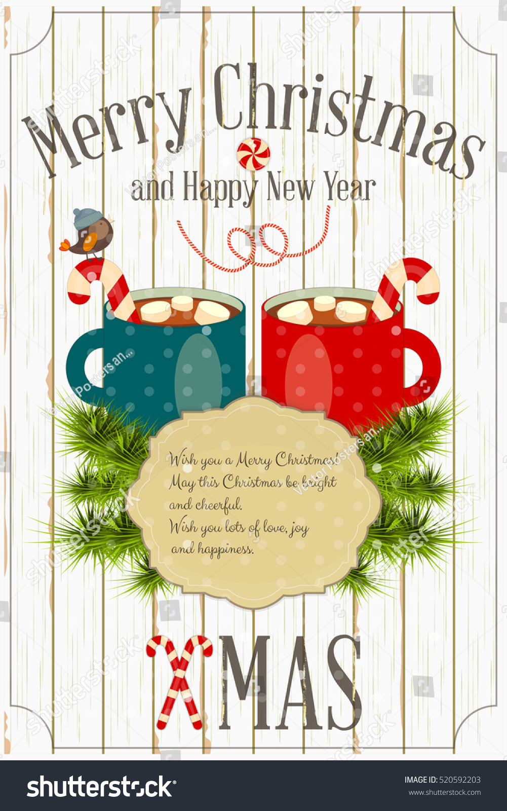Merry Christmas New Year Card Two Stock Vector Royalty Free