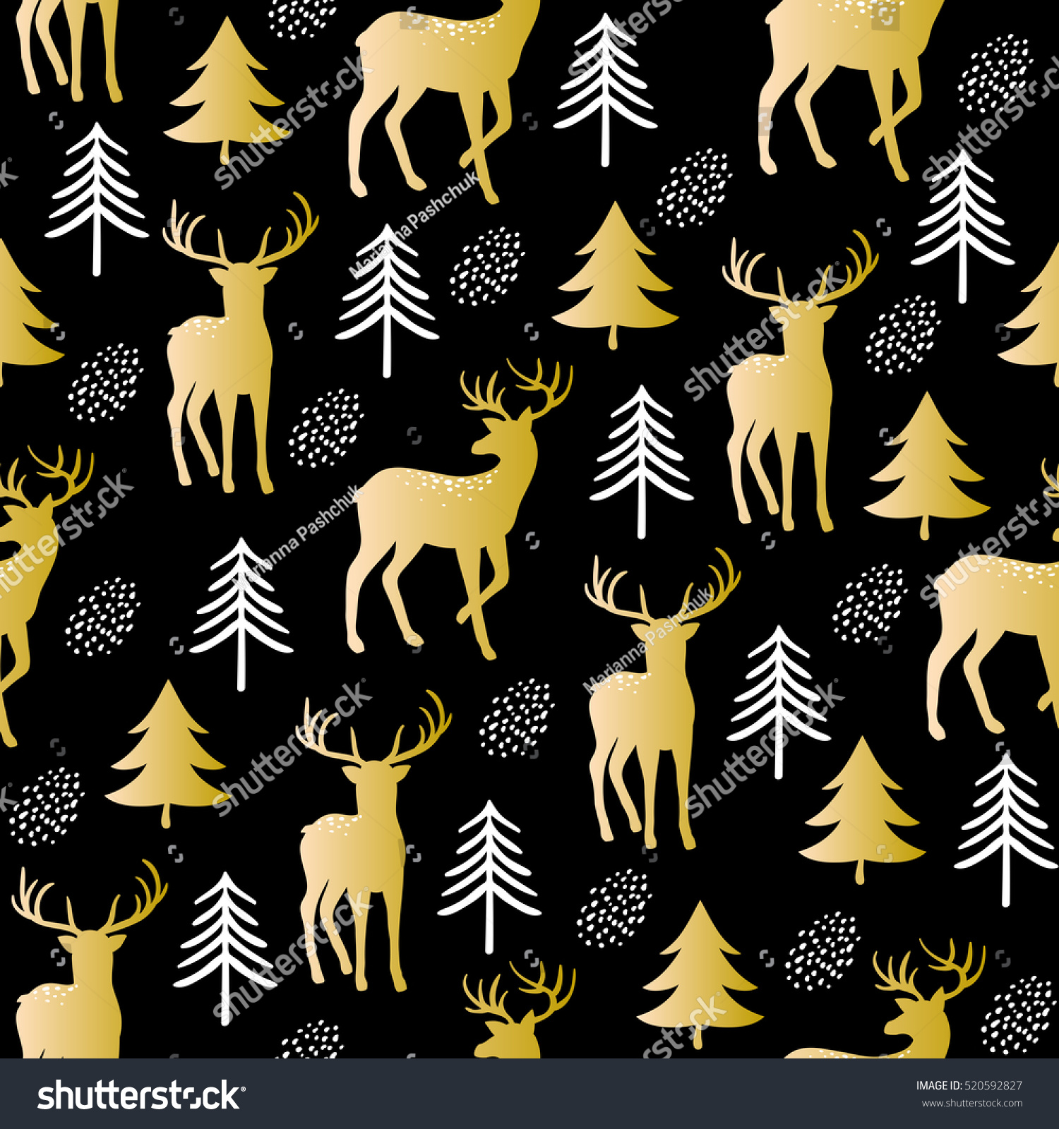 Seamless fir tree scandinavian pattern textile background wrapping - Christmas Seamless Pattern With Cute Golden Deer And Fir Trees On Black Background Vector Print
