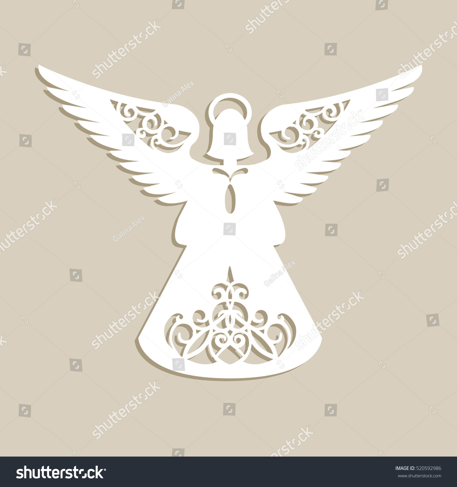 Christmas Carved Openwork Angel Template Laser Stock Vector