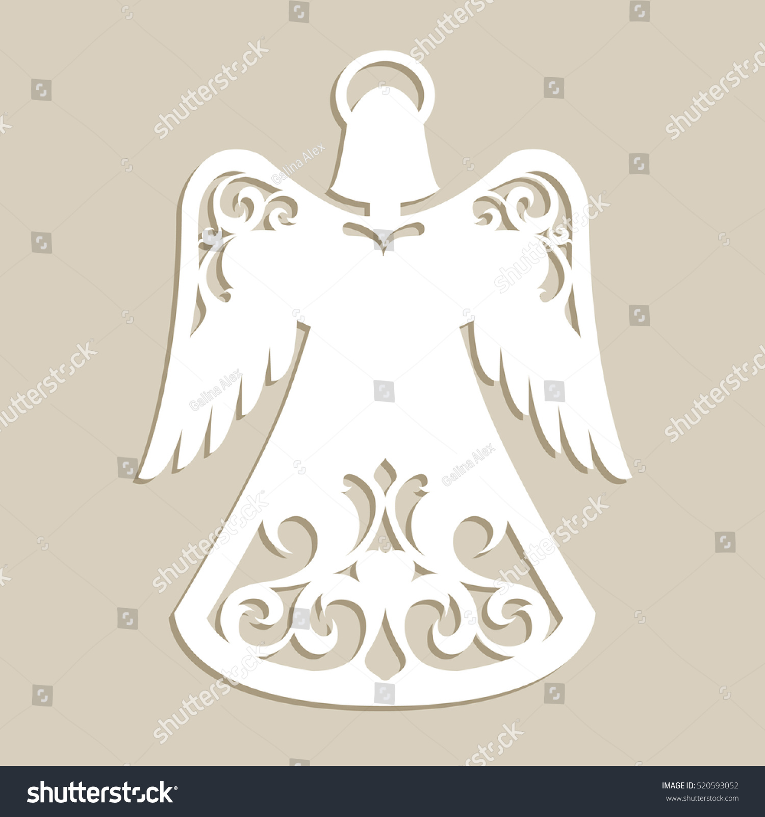 Christmas Carved Openwork Angel Template Laser Stock