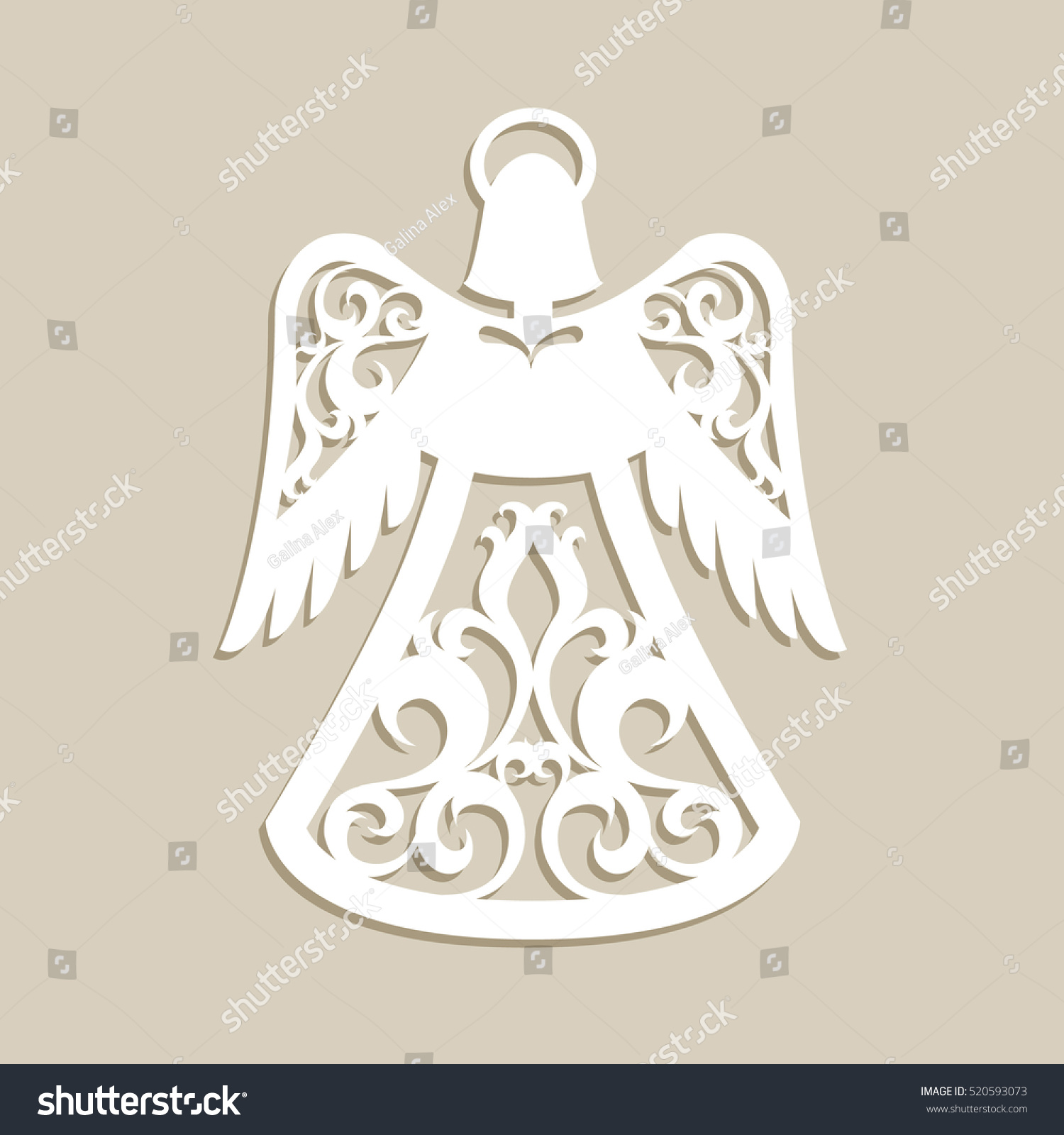 Christmas carved openwork angel template laser stock for Angel tree decoration template
