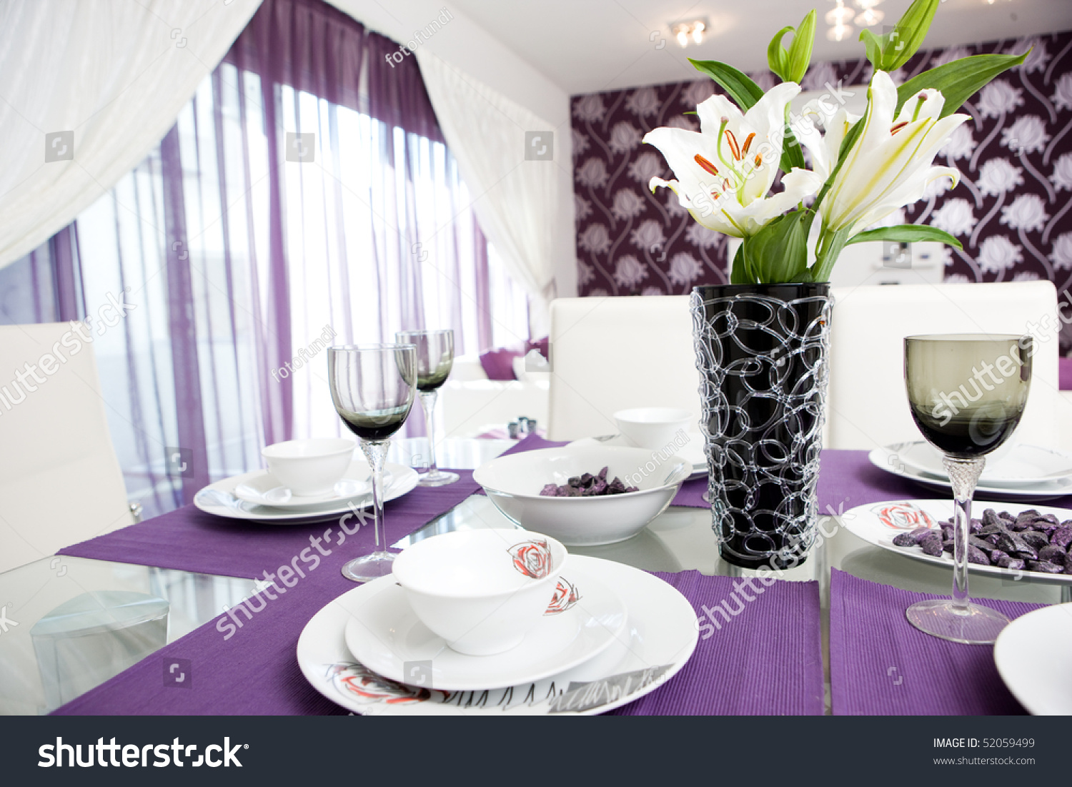 purple styled lounge dining room interior stock photo 52059499