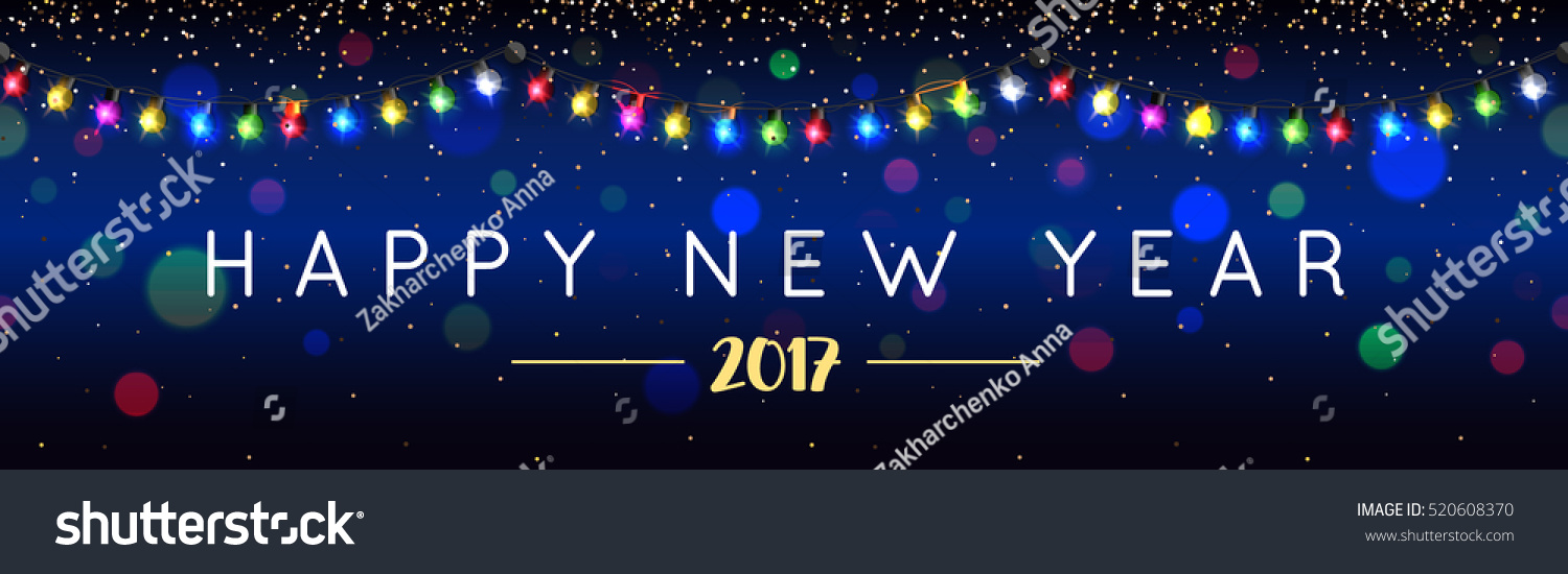 merry christmas and happy new year horizontal banner with garland for shop signboard website