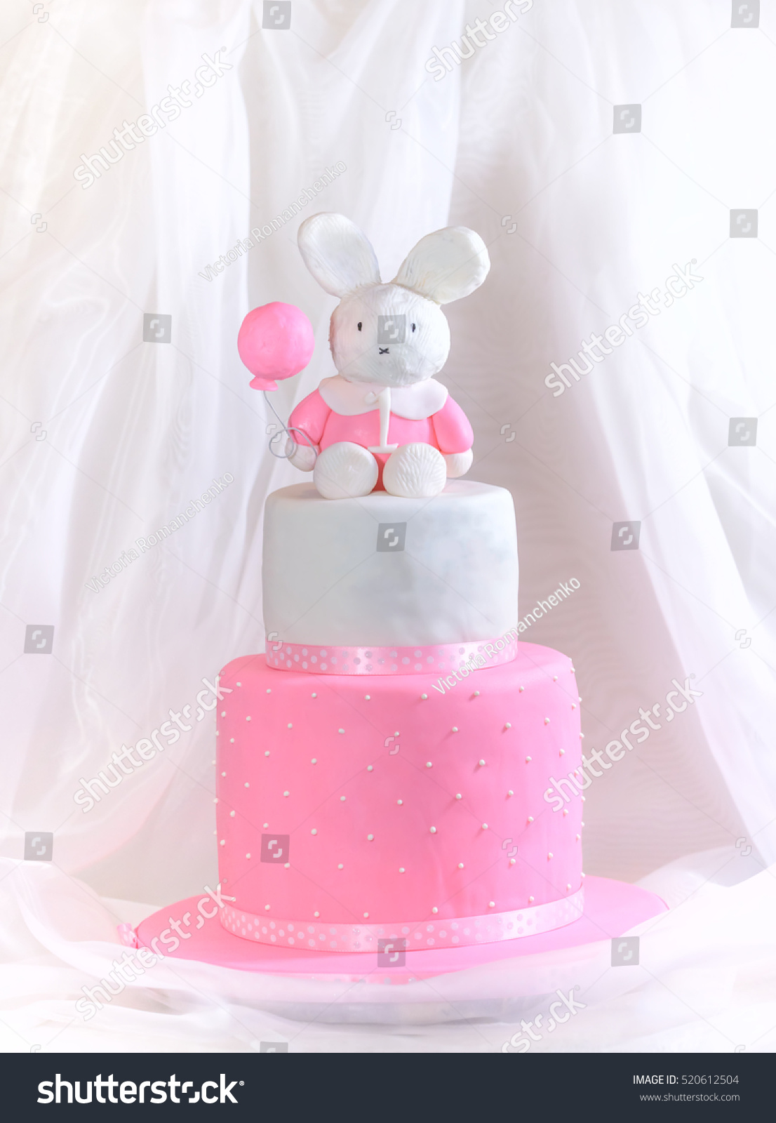 Super Baby Girl Cake First Birthday Rabbit Stock Photo Edit Now 520612504 Funny Birthday Cards Online Aeocydamsfinfo