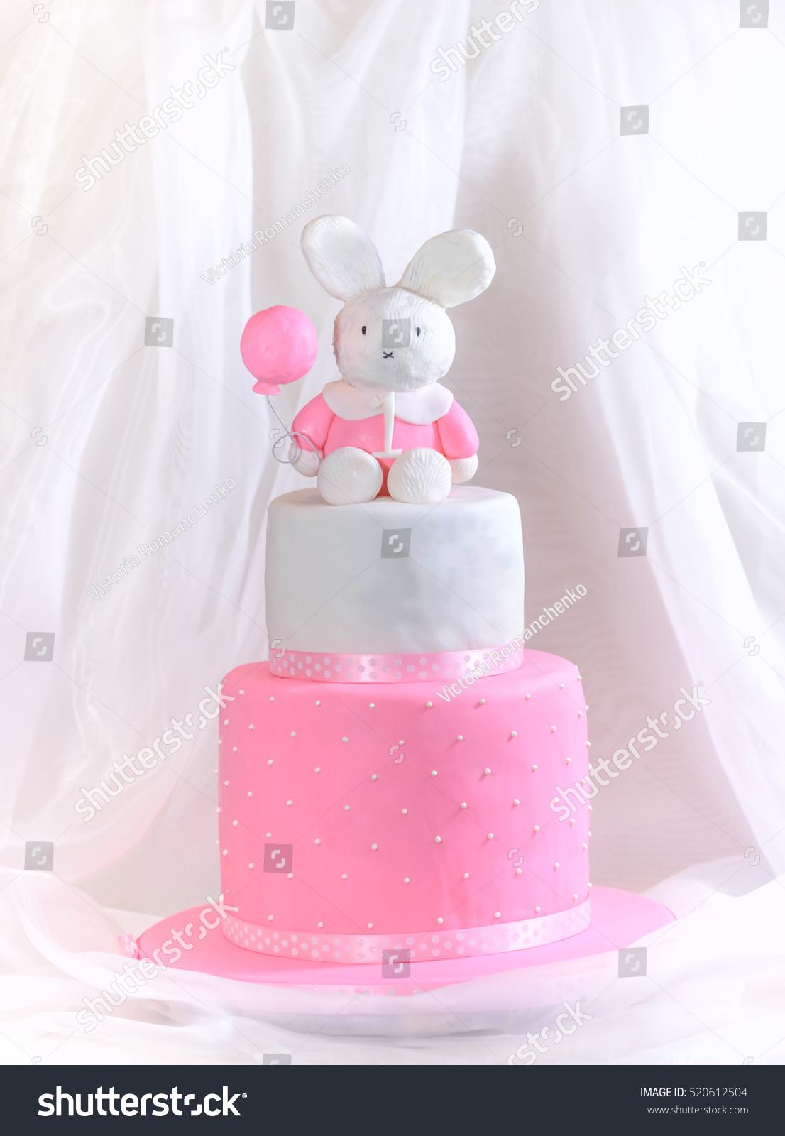 Fantastic Baby Girl Cake First Birthday Rabbit Stock Photo Edit Now 520612504 Funny Birthday Cards Online Barepcheapnameinfo