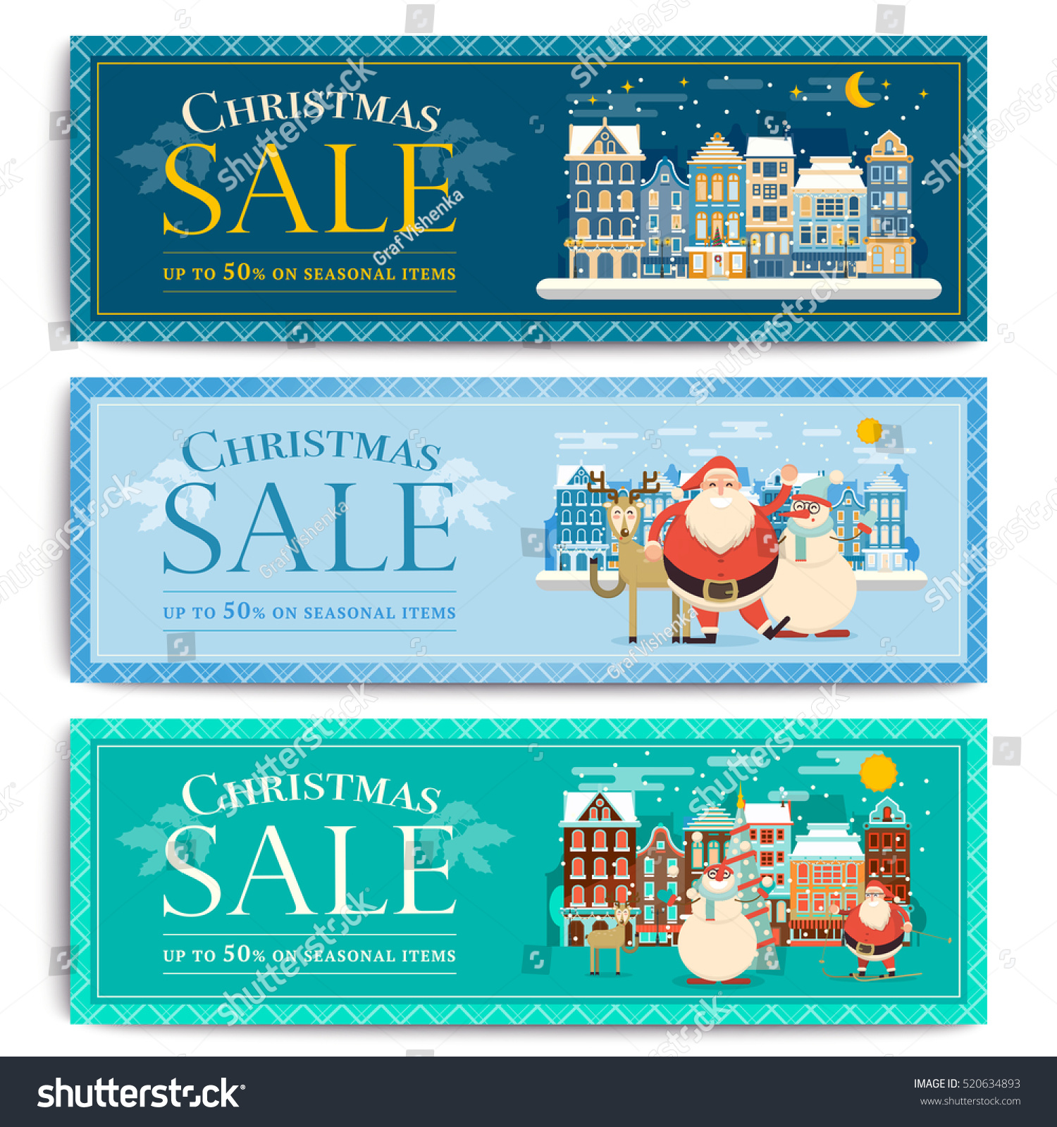 christmas social media sale banners mobile stock vector 520634893