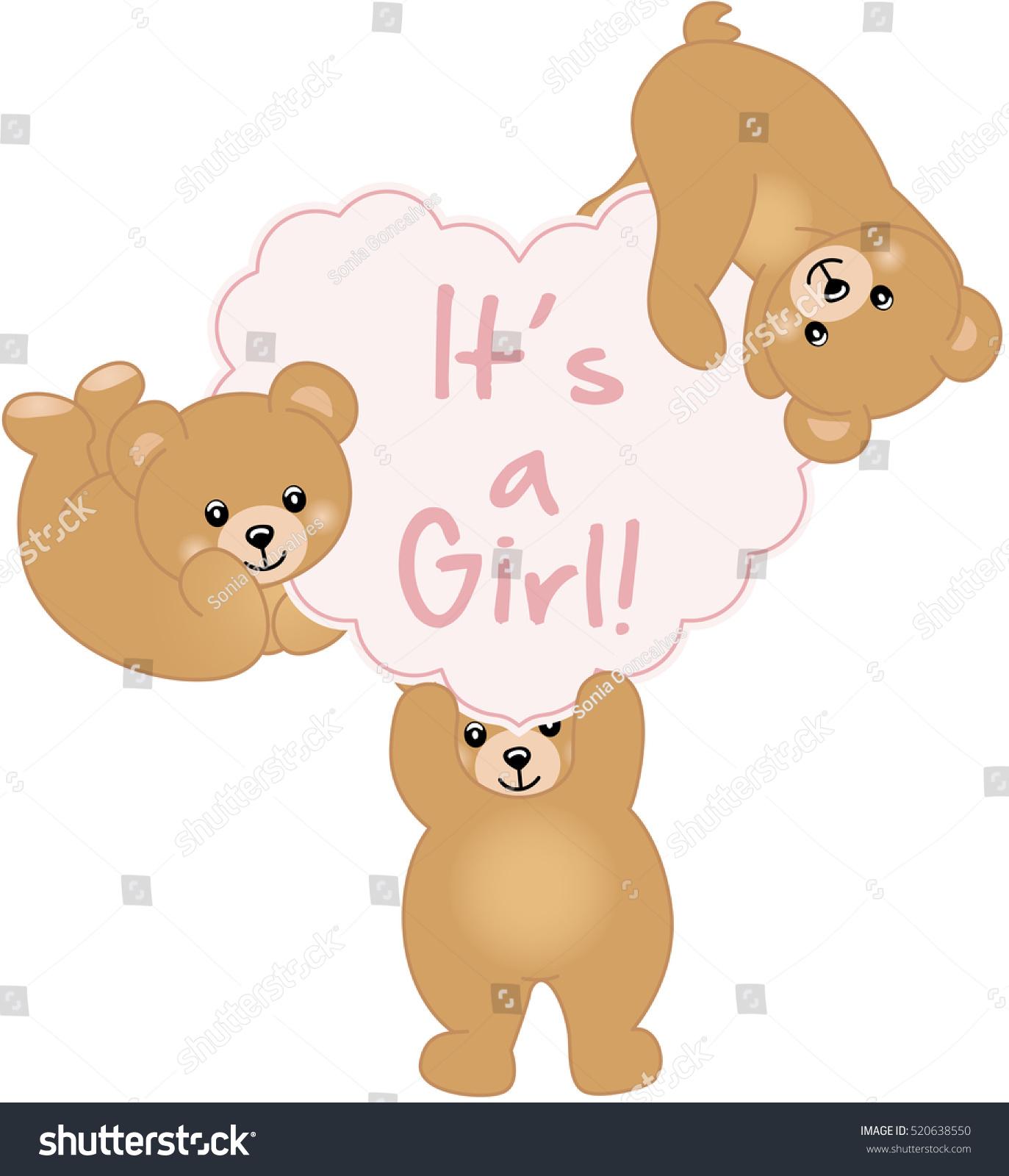 Girl Teddy Bear Baby Shower Stock Vector Shutterstock