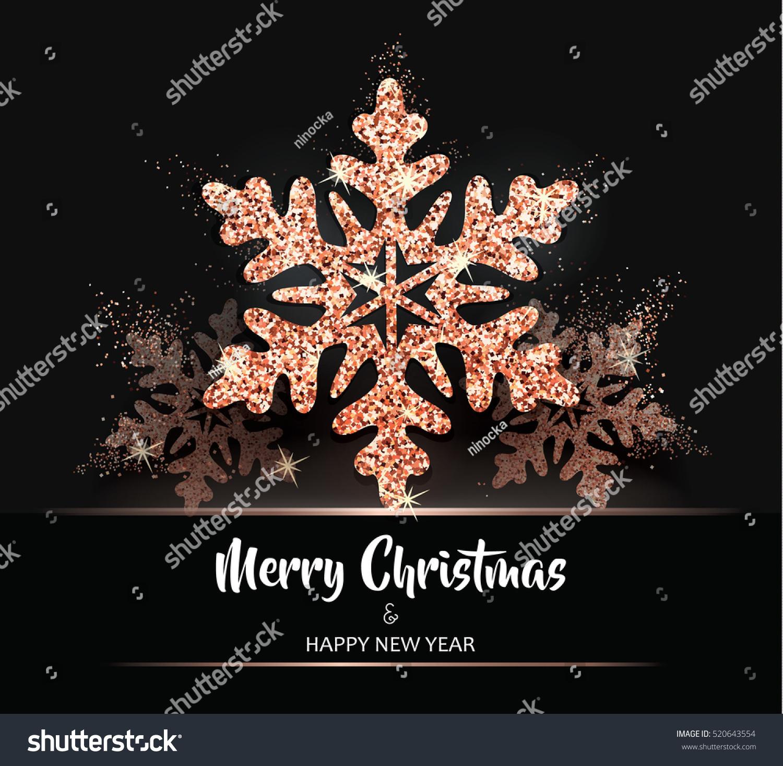 Shining Rose Gold Snowflakes Elegant Christmas Stock Vector Royalty Free 520643554