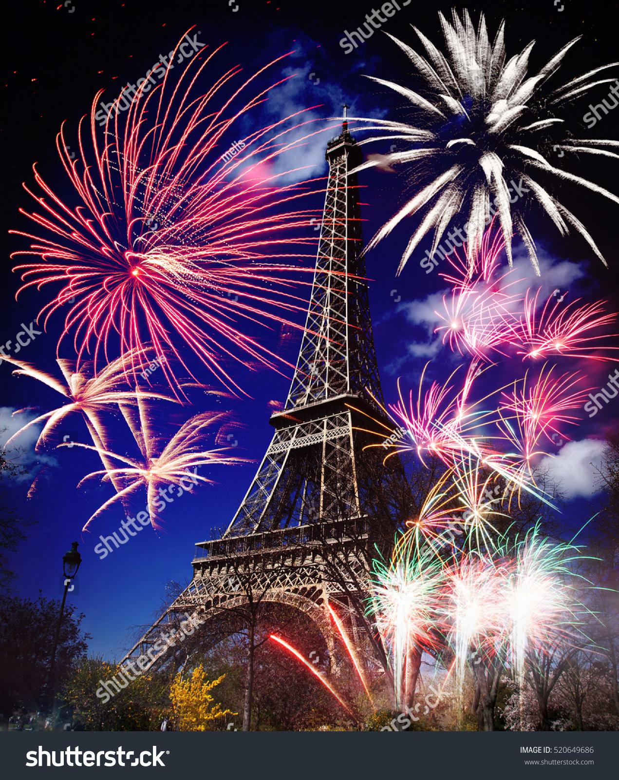 celebrating new year city eiffel tower stock photo (royalty free