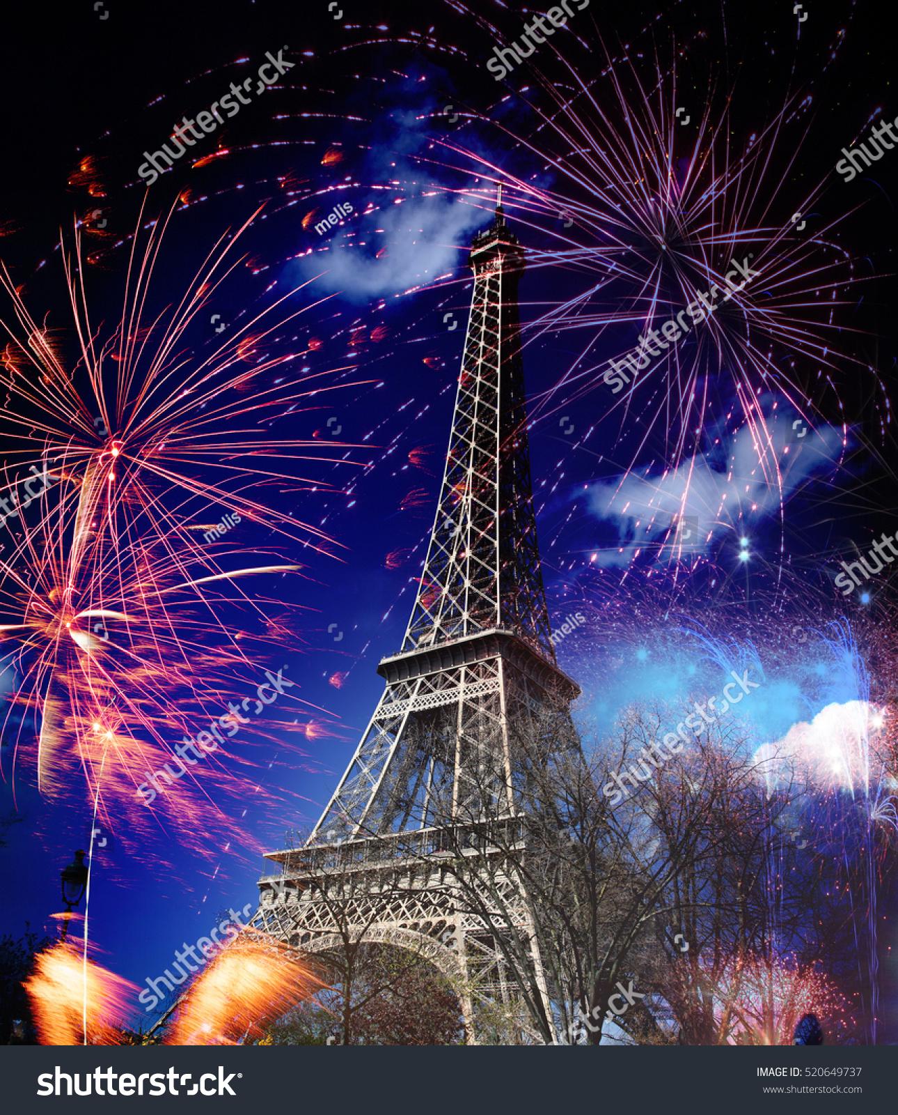 celebrating new year city eiffel tower stock photo (100% legal