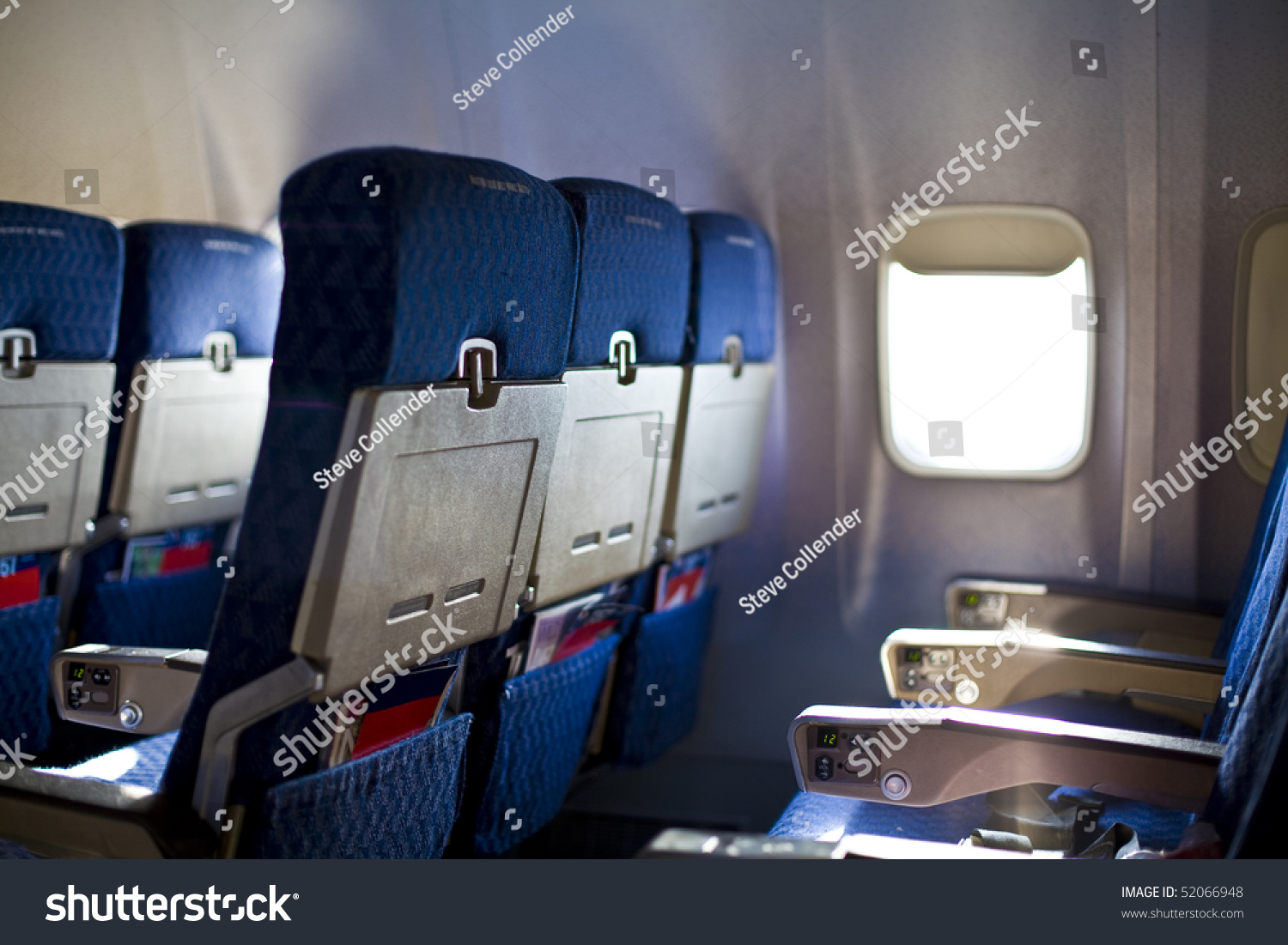 Airplane Seat Window Inside Aircraft Focus Stock Photo