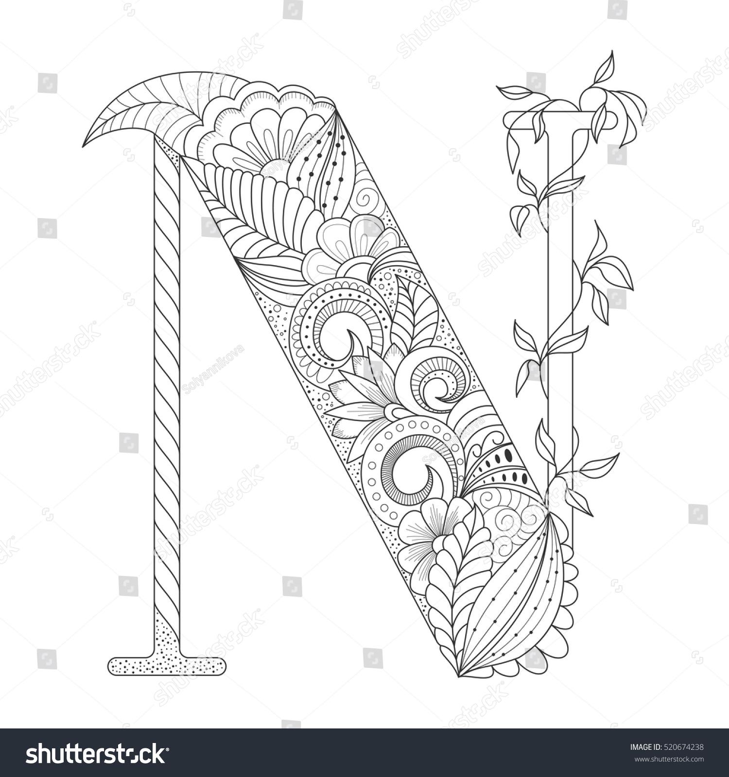 black line letter n doodle floral stock vector 520674238
