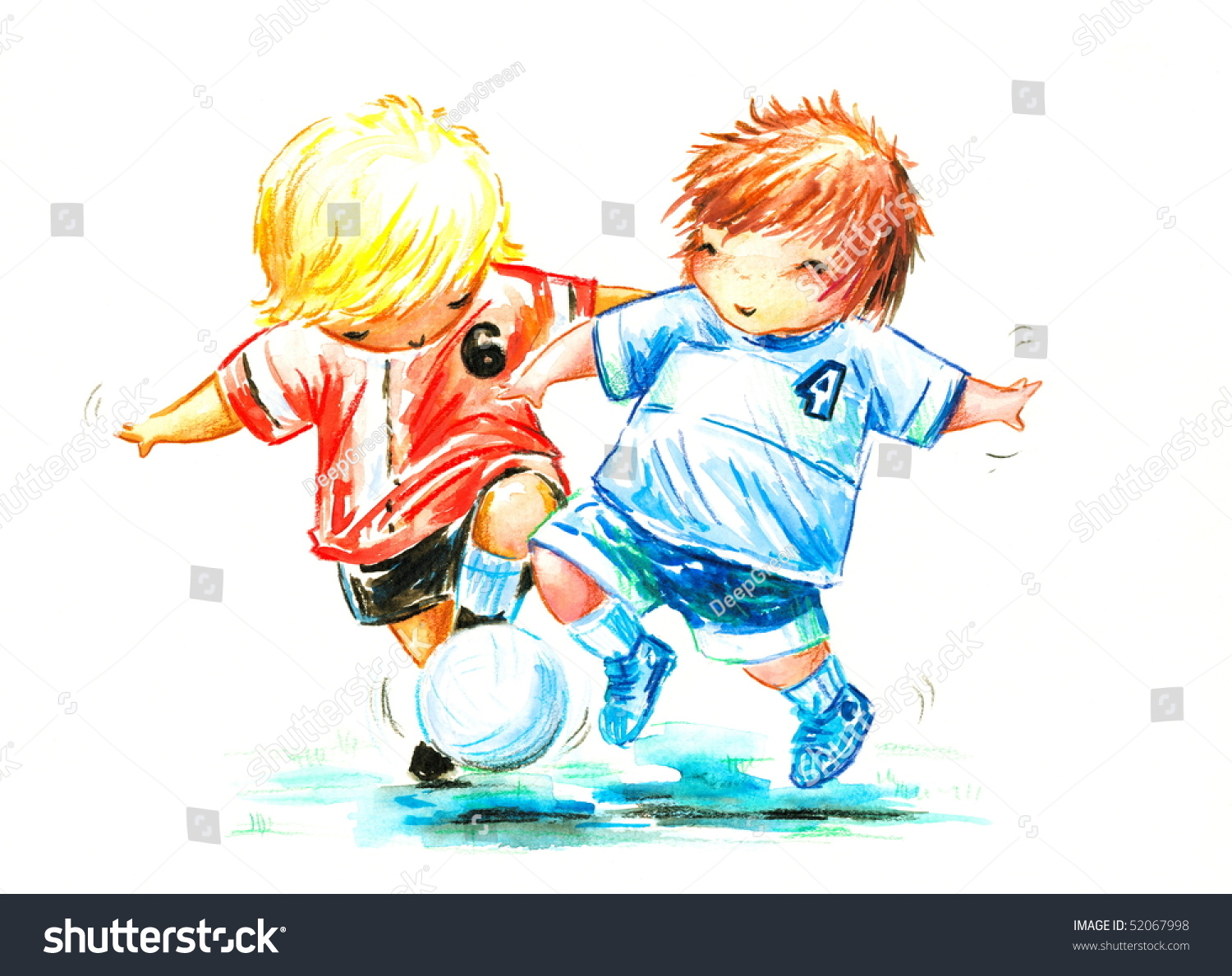 Two boys play soccer picture i have created myself with watercolors and colored pencils