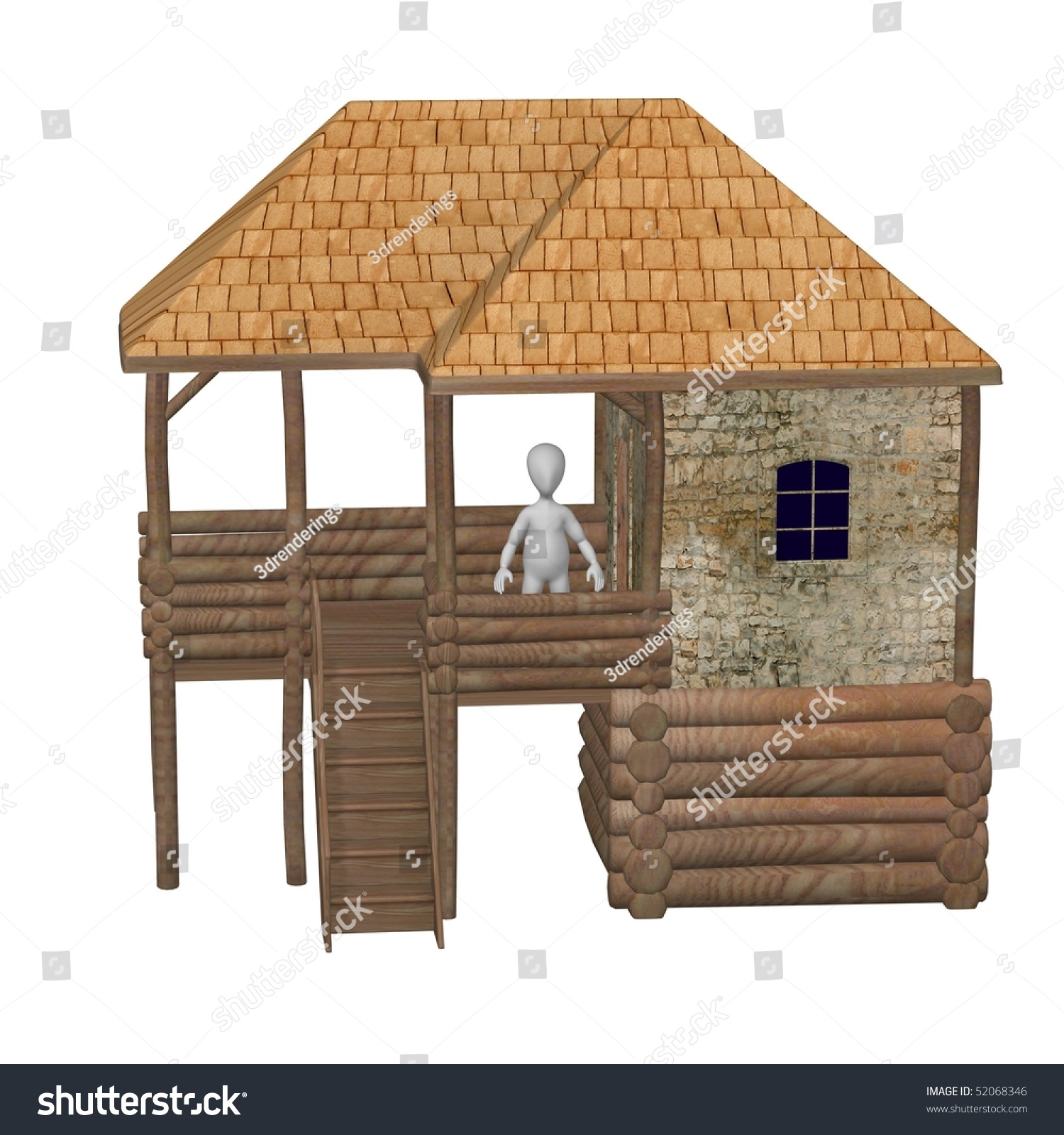 Cartoon Characters Houses : D render of cartoon character with house stock photo