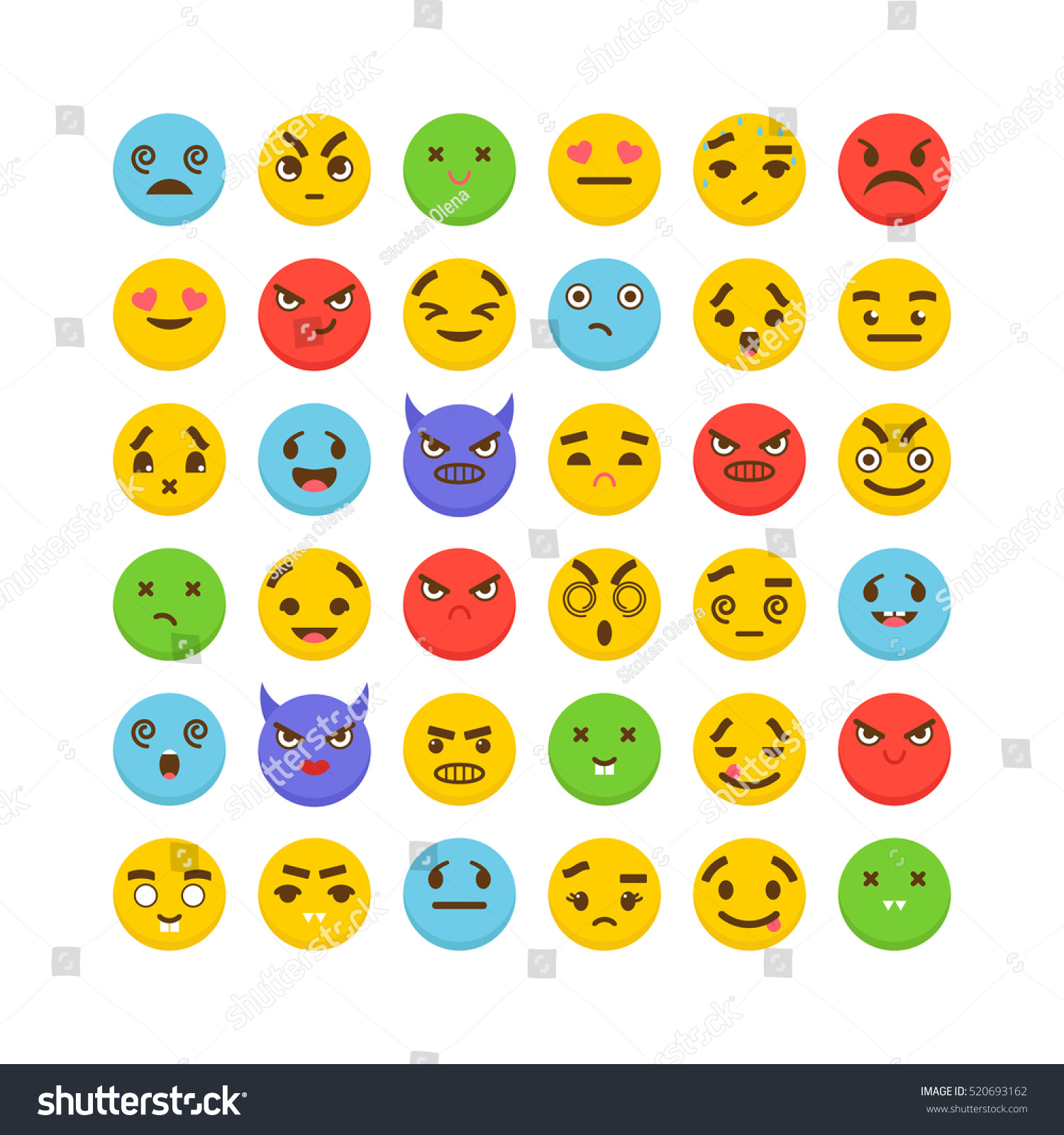 set of emoticons cute emoji icons flat design kawaii vector illustration