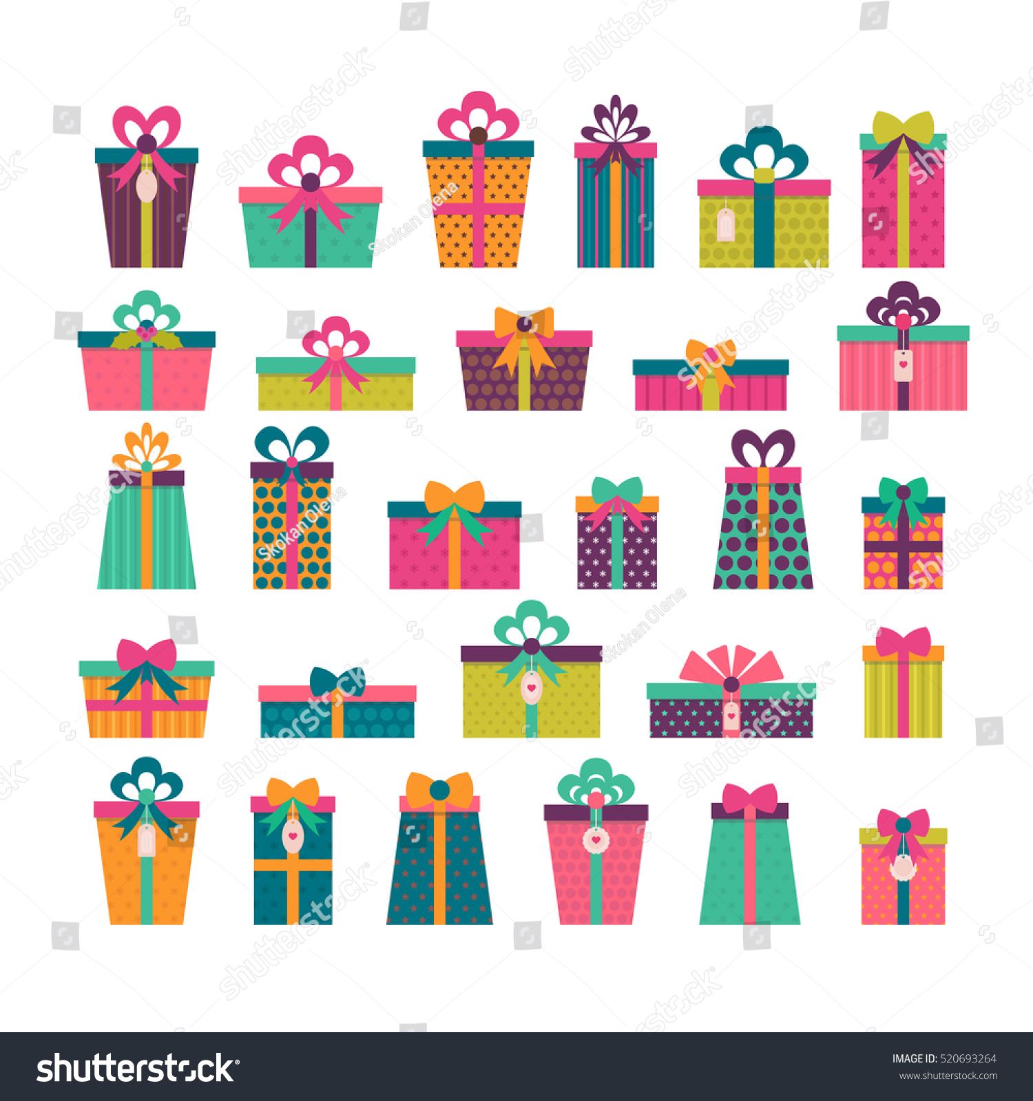 Birthday Surprise Set Different Gift Boxes Stock Vector