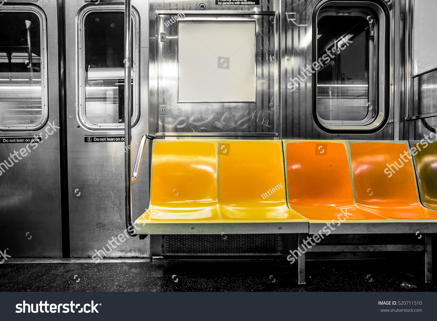 new york city subway car interior stock photo 520711510 shutterstock. Black Bedroom Furniture Sets. Home Design Ideas