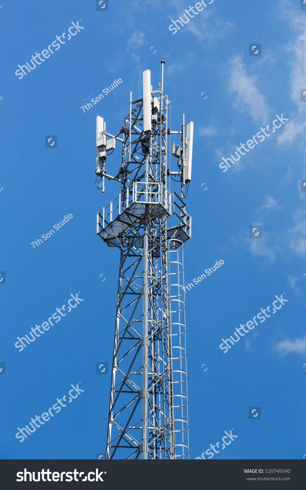 Antenna Repeater Tower On Blue Sky Stock Photo 520749340 - Shutterstock