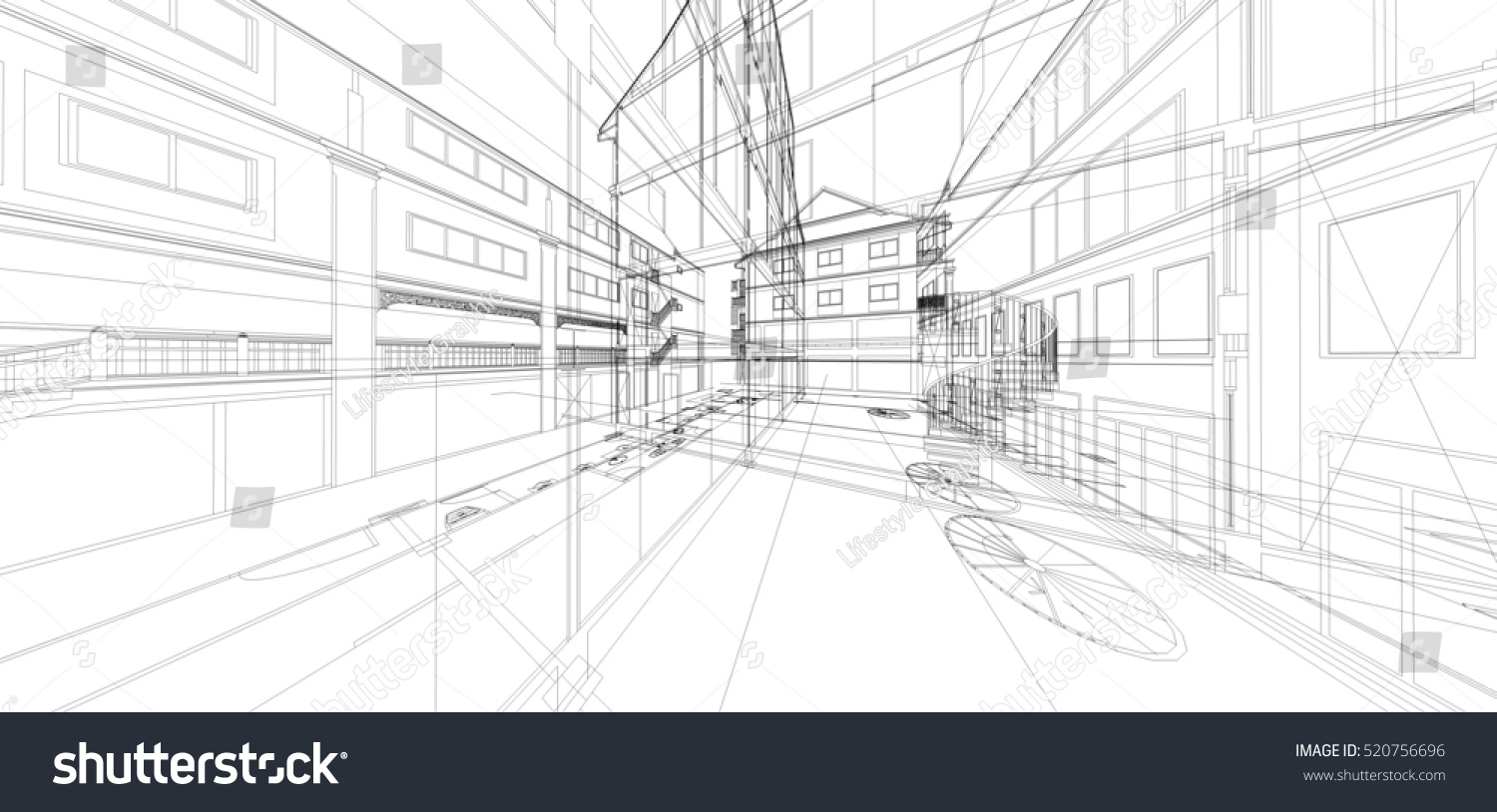 abstract 3 d render building wireframe construction stock