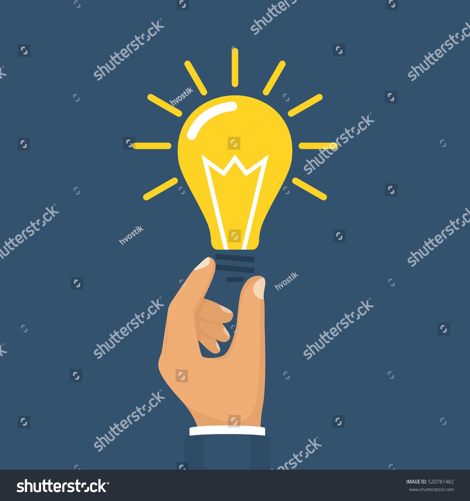Technology Management Image: Hand Holding Lightbulb Concept Business Idea Stock Vector