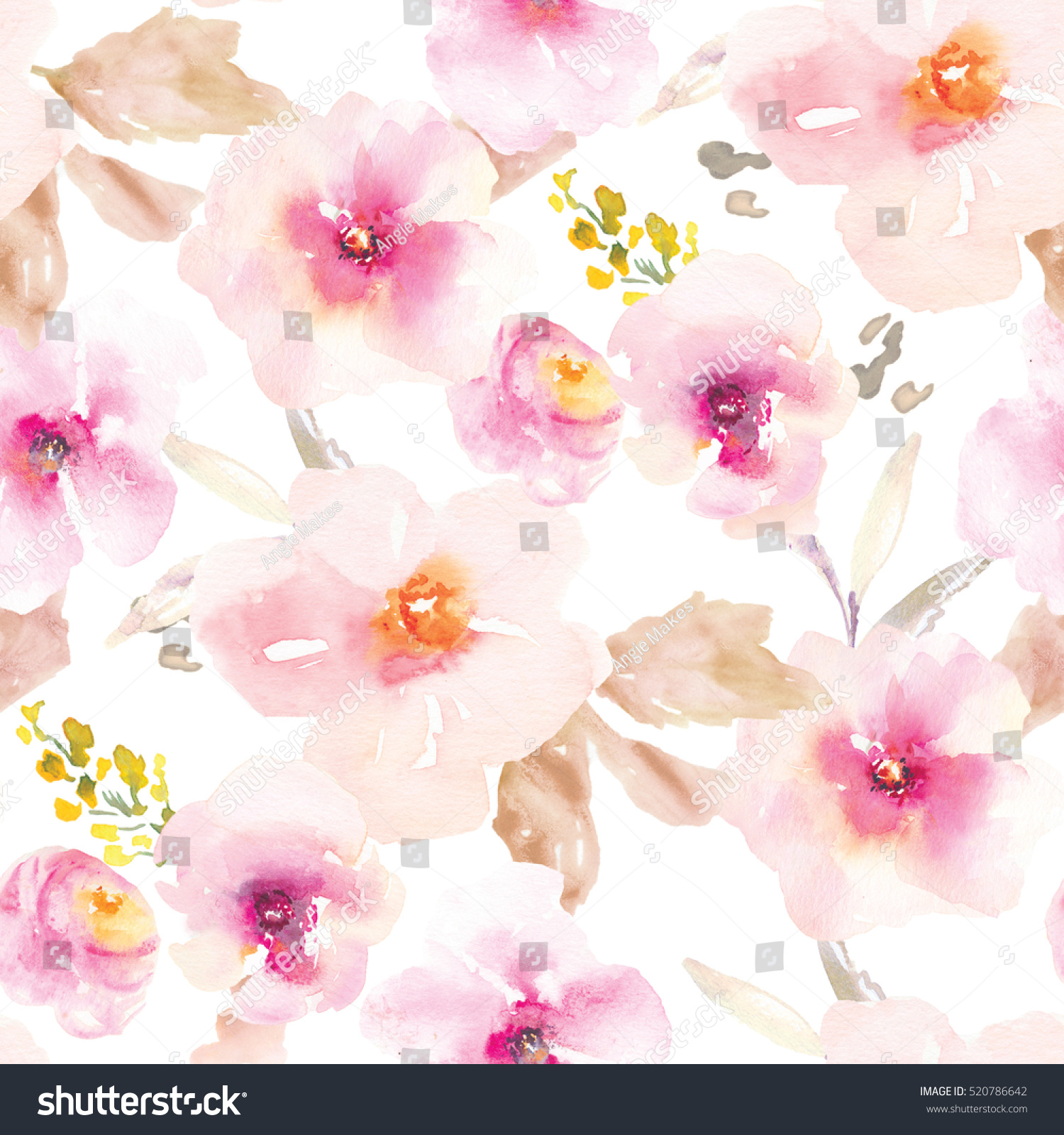 This Modern Pink Purple Floral Pattern Stock Illustration Royalty