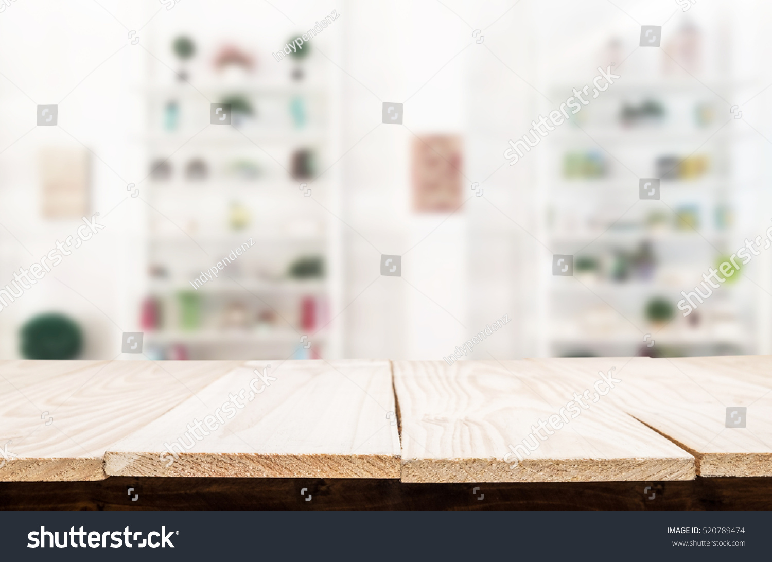 Empty wood table and blurred living room background stock photo - Empty Wooden Table And Living Room Interior Decoration Background Product Montage Display