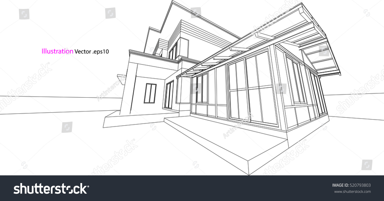 House Structure Architecture Abstract Drawing 3 D Stock Vector