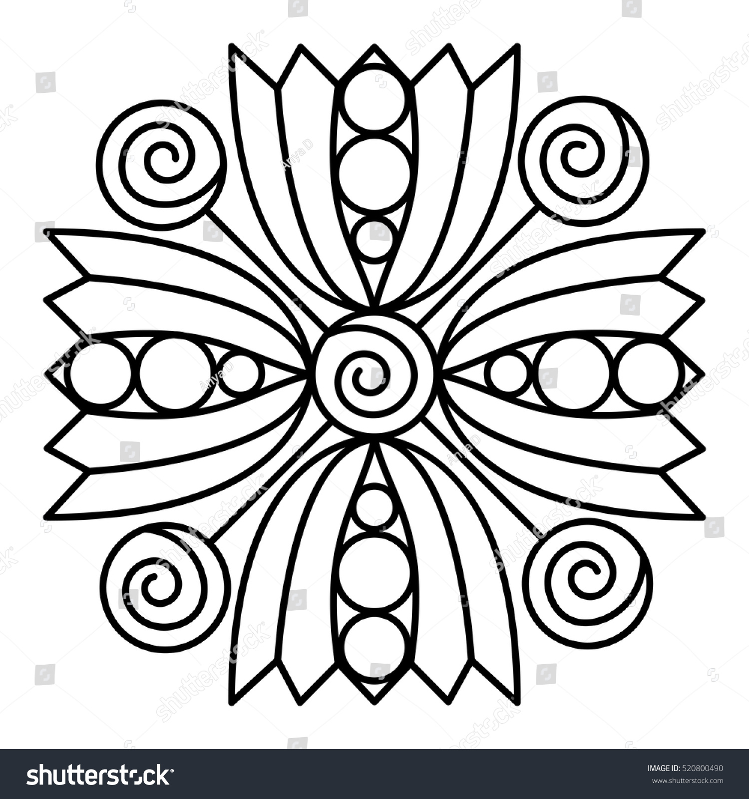 Simple Flower Mandala Pattern Coloring Book Stock Vector Royalty - Color-book-pages