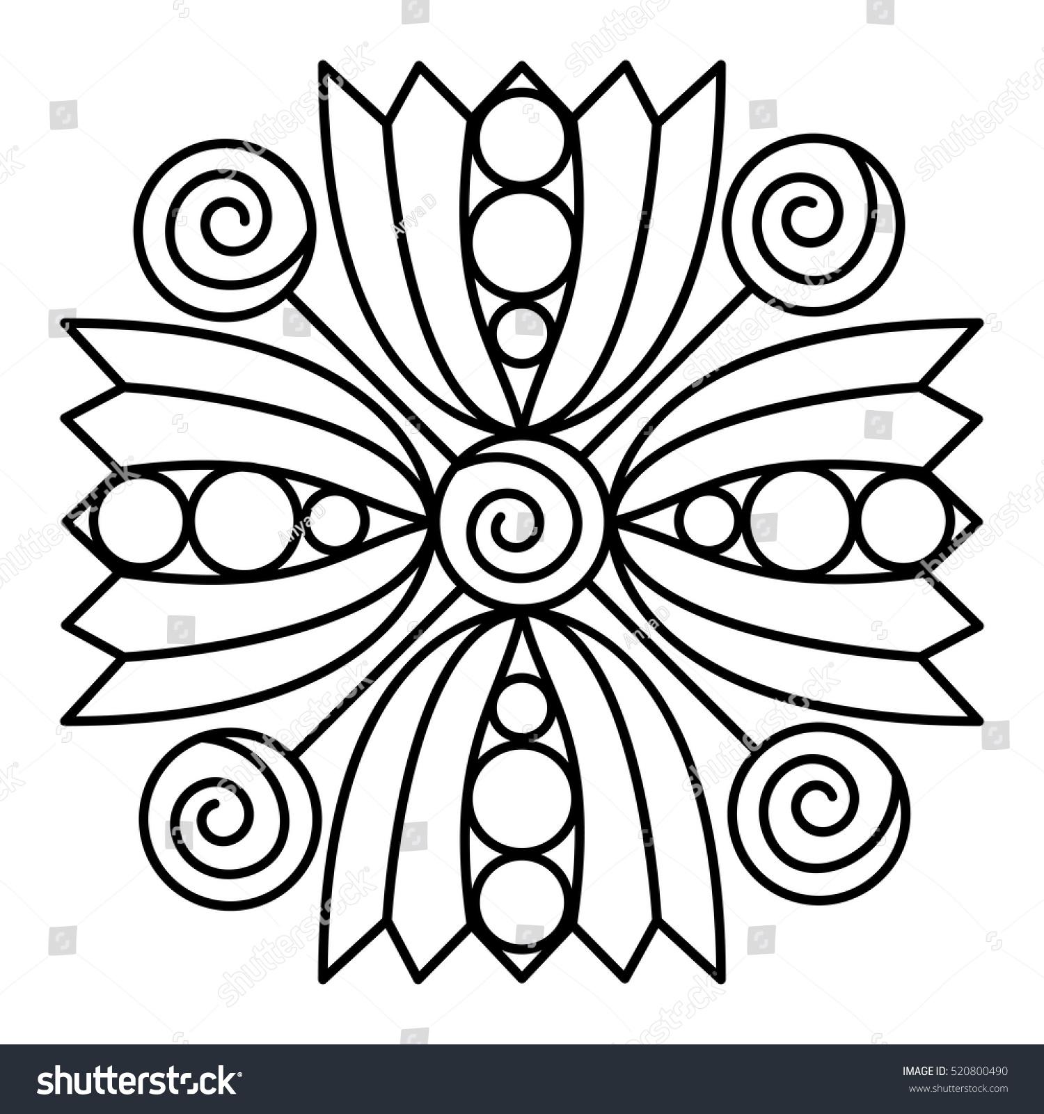 simple flower mandala pattern coloring book stock vector 520800490