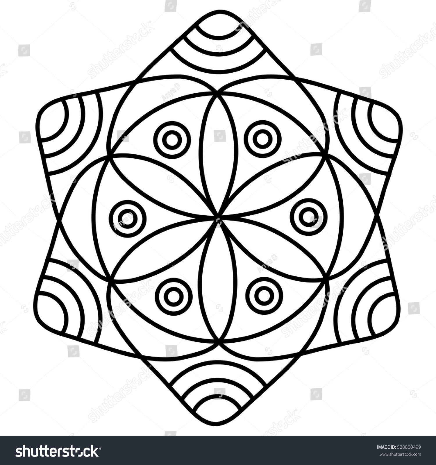 simple flower mandala pattern coloring book stock vector 520800499 shutterstock. Black Bedroom Furniture Sets. Home Design Ideas