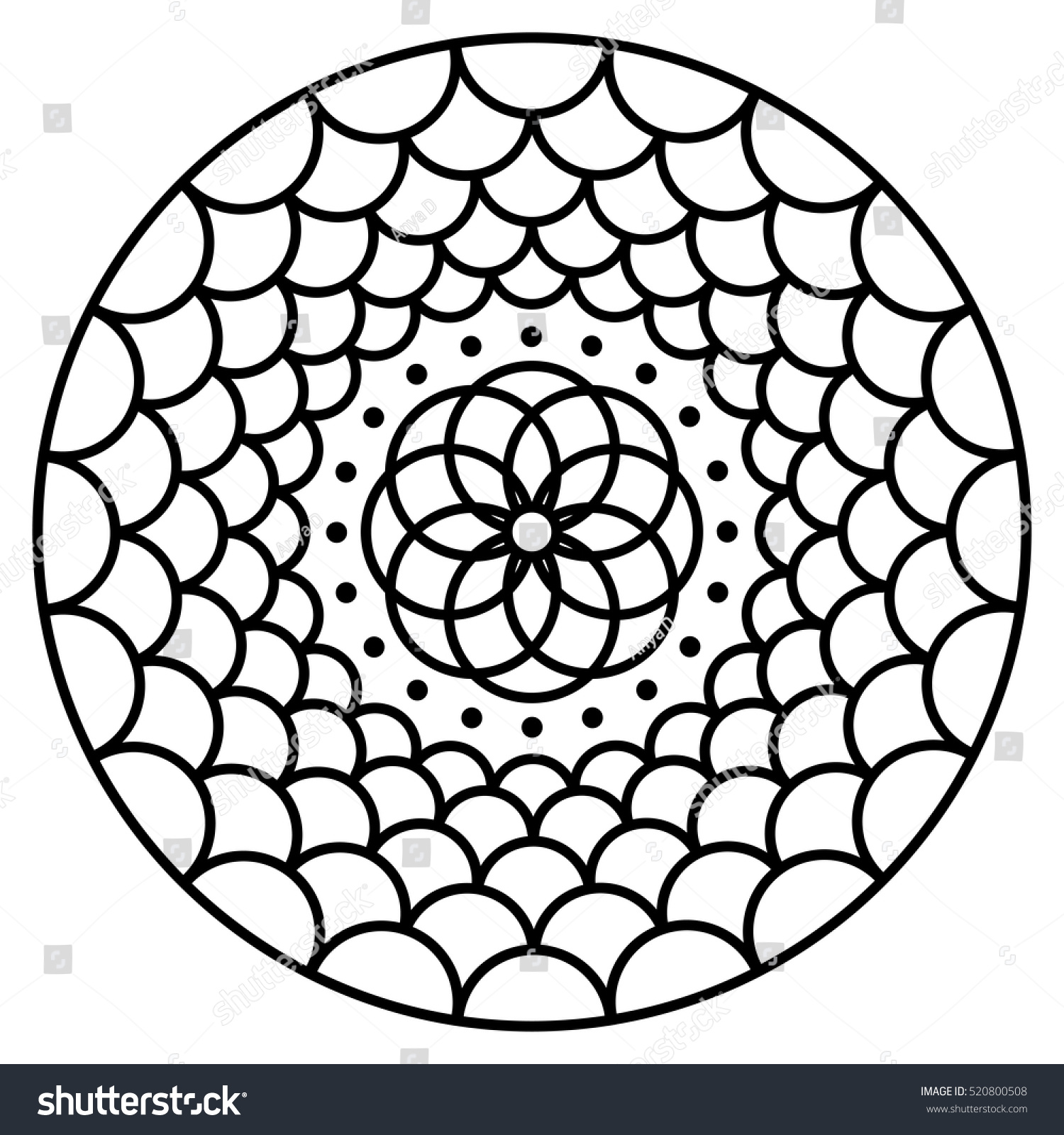 Simple flower mandala pattern for coloring book pages easy floral design to color for kids