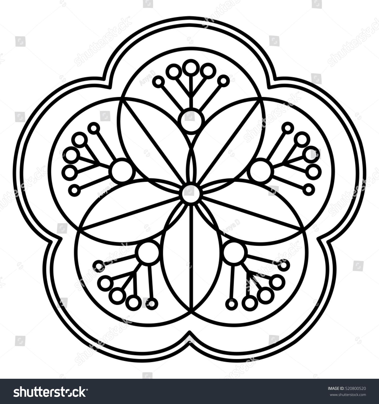 simple flower mandala pattern coloring book stock vector 520800520