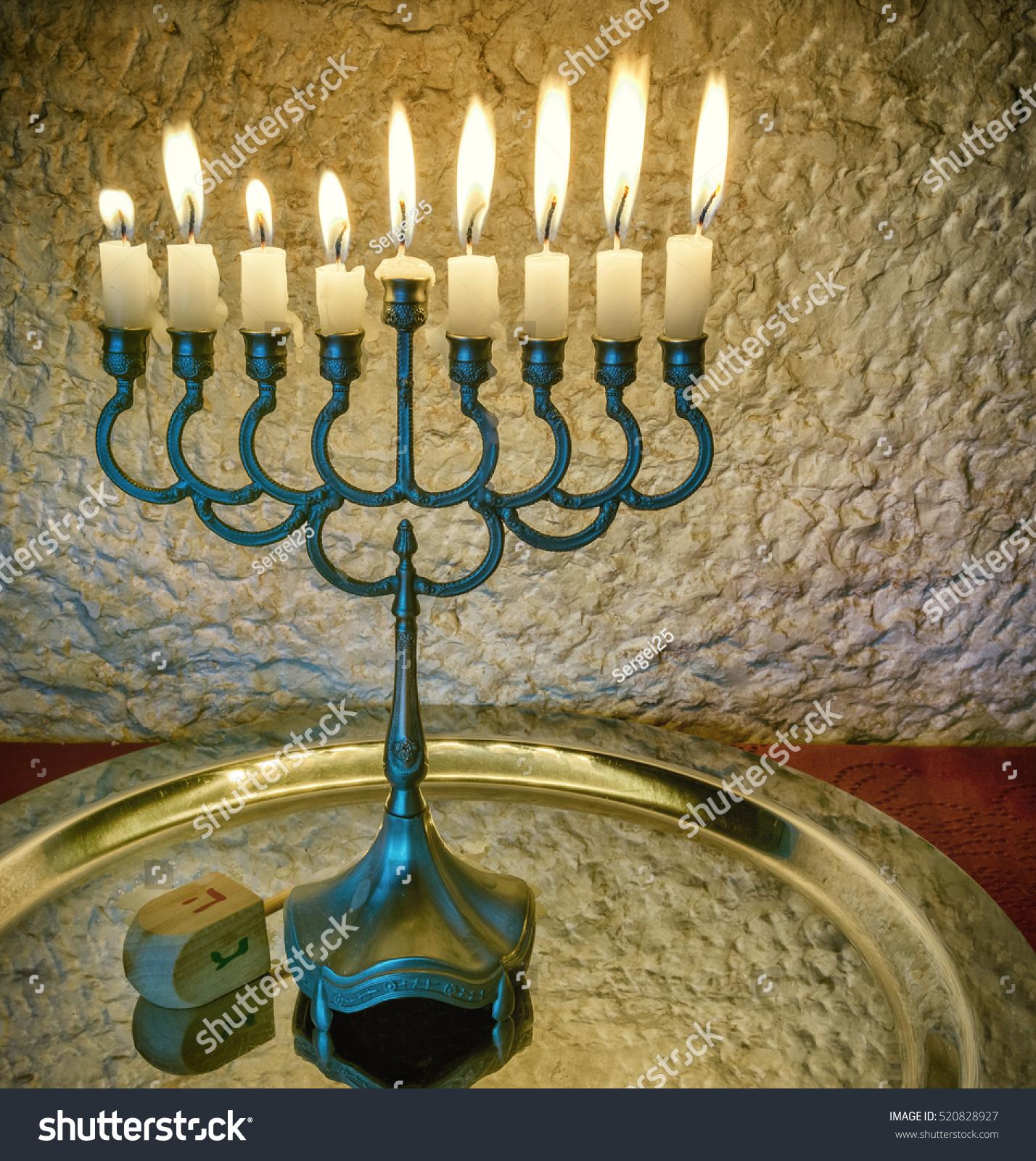 Jewish Holiday Hanukkah Celebration Vintage Menorah Stock Photo 100