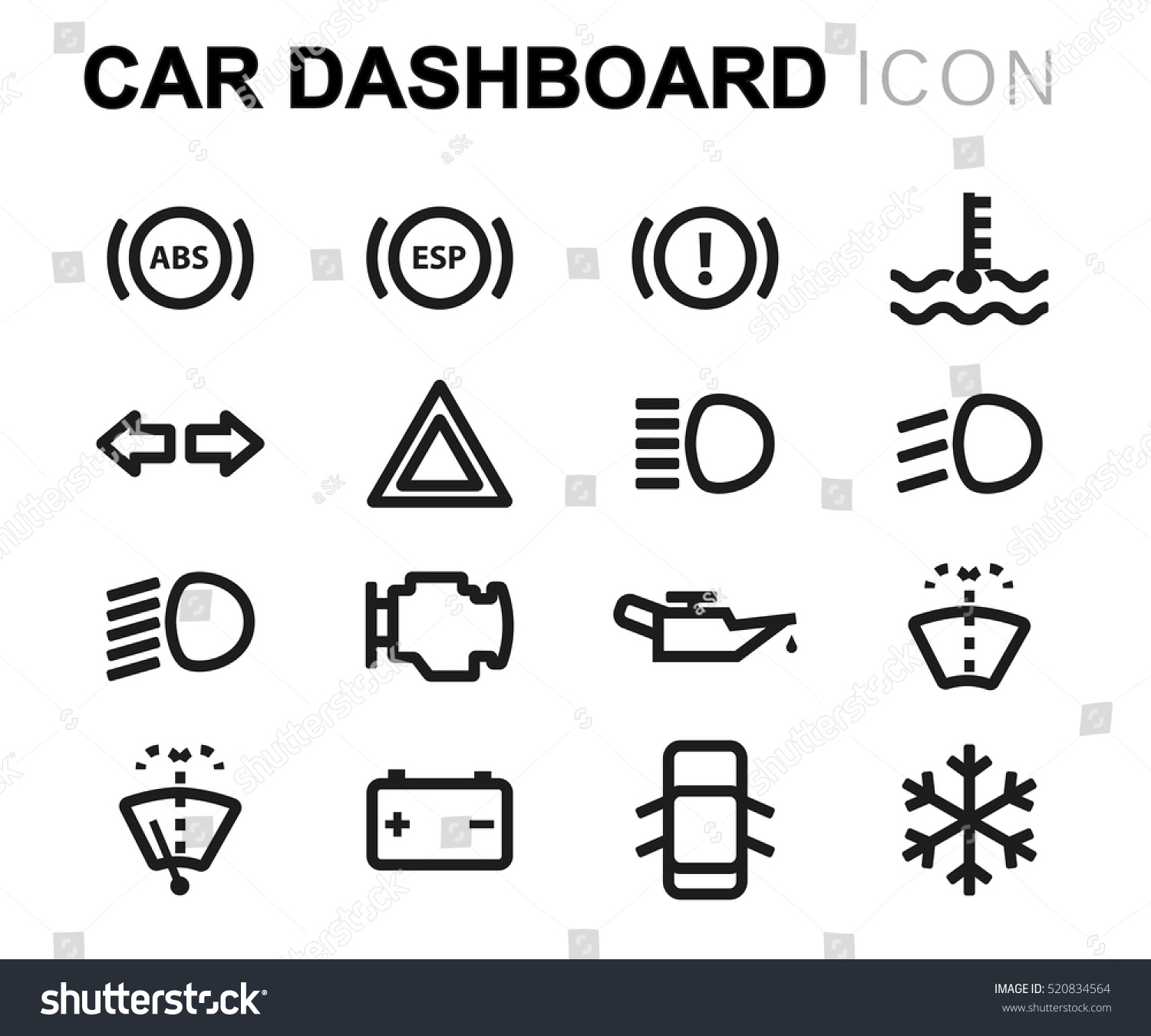 Vector Line Car Dashboard Icons Set Stock Vector - Car image sign of dashboardcar dashboard icons stock images royaltyfree imagesvectors