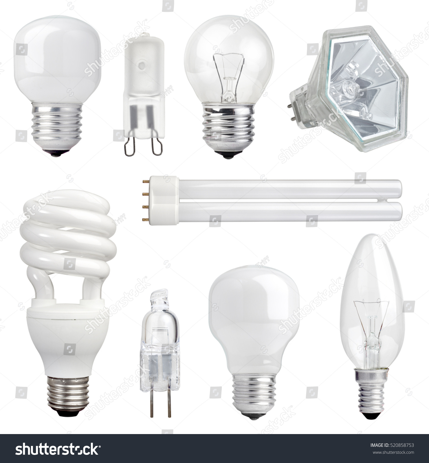 Collection different kind light bulbs on stock photo 520858753 collection of different kind of light bulbs on white background arubaitofo Images