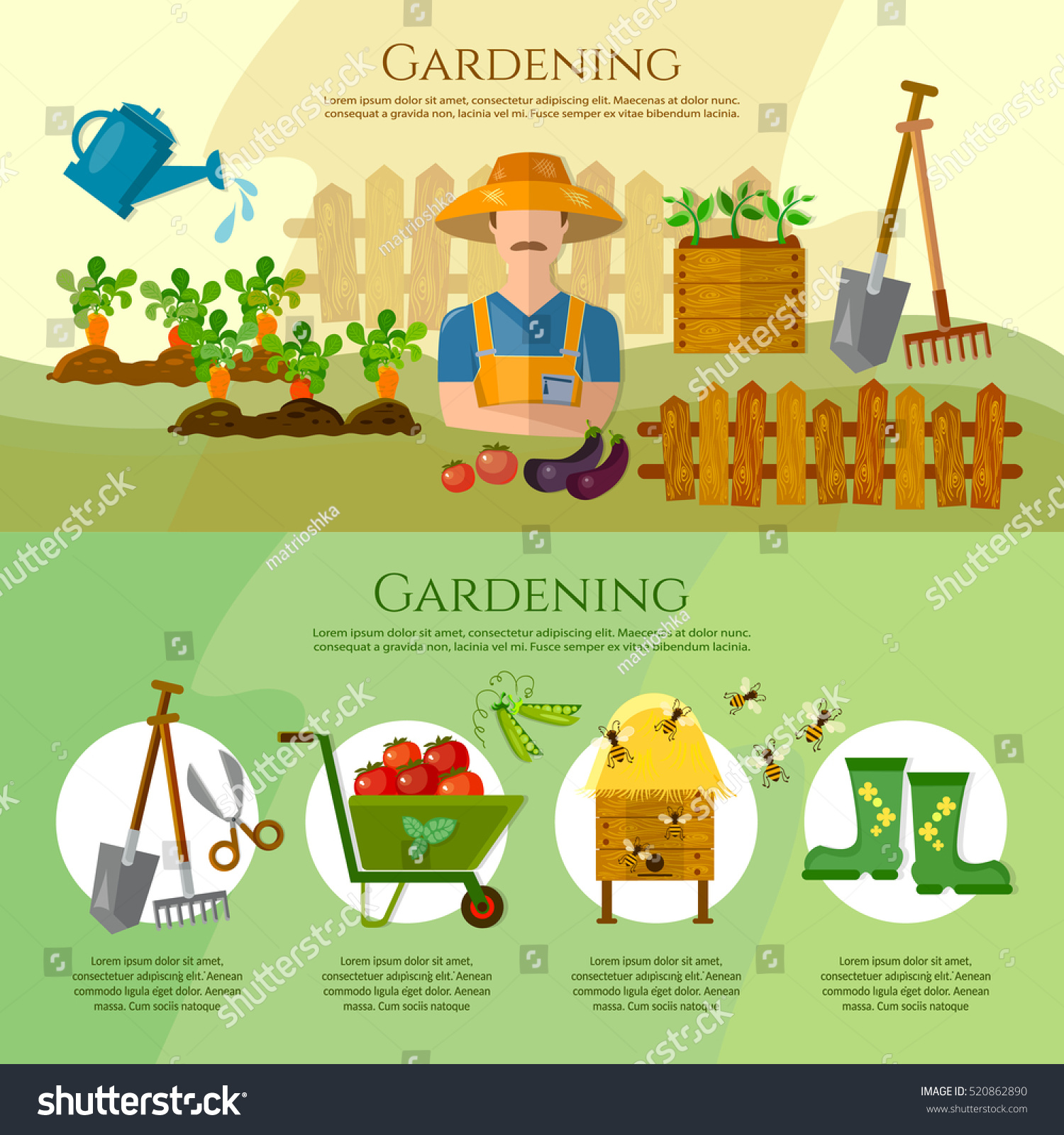 Gardening growing vegetables natural food farmer products cartoon Garden tools Banner with summer garden landscape Flat style vector illustration