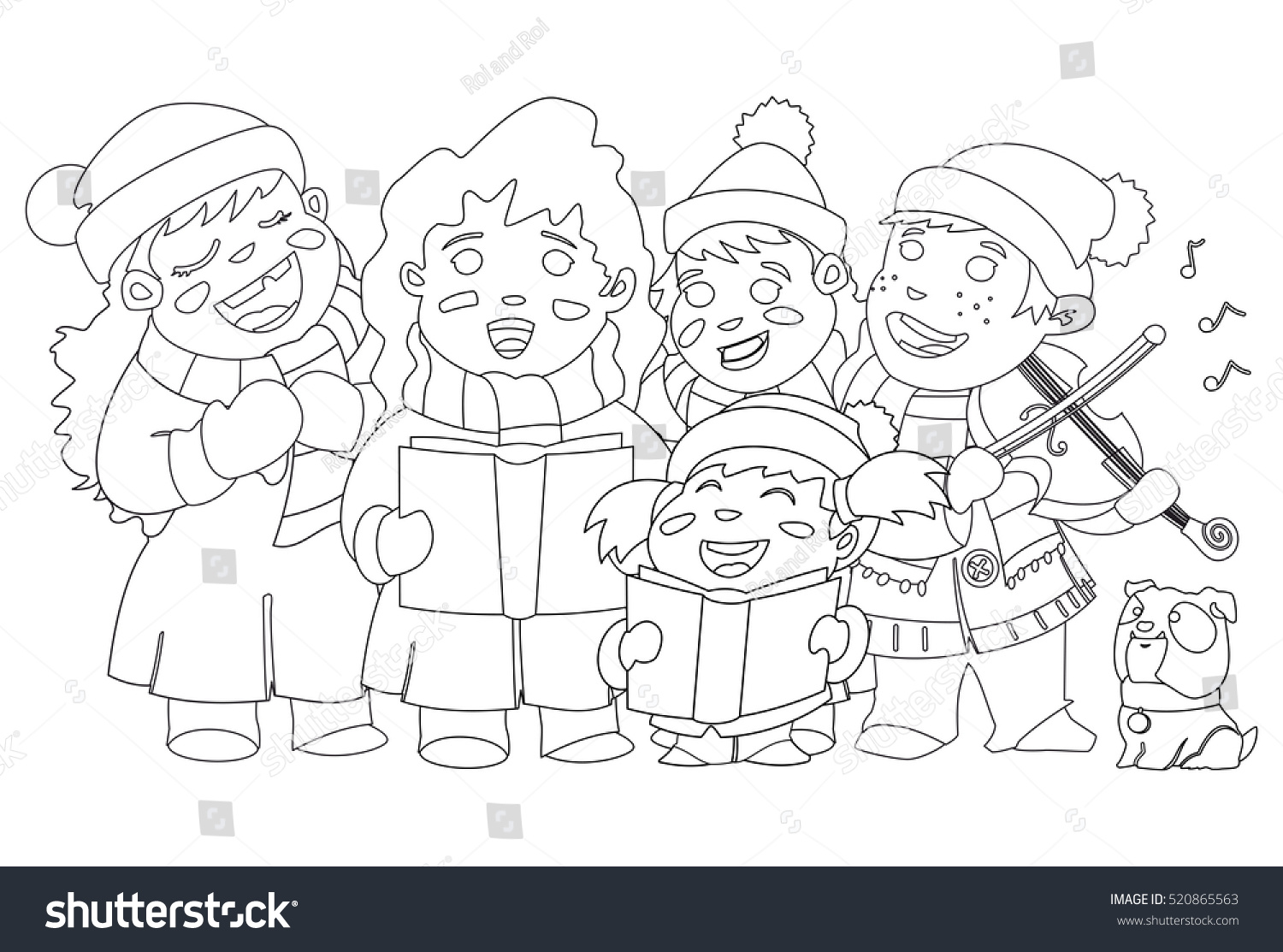 coloring book page christmas caroling children choir singing carols and boy playing violin