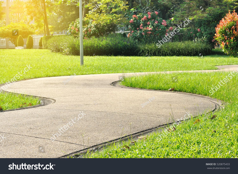 Landscaping Green Garden Pathway Parkcurve Walkway Stock Photo ...