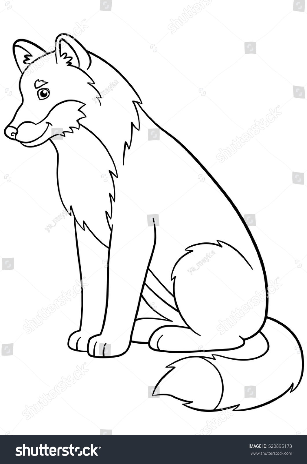 Coloring Pages Cute Beautiful Wolf Sits Stock Vector 520895173 ...