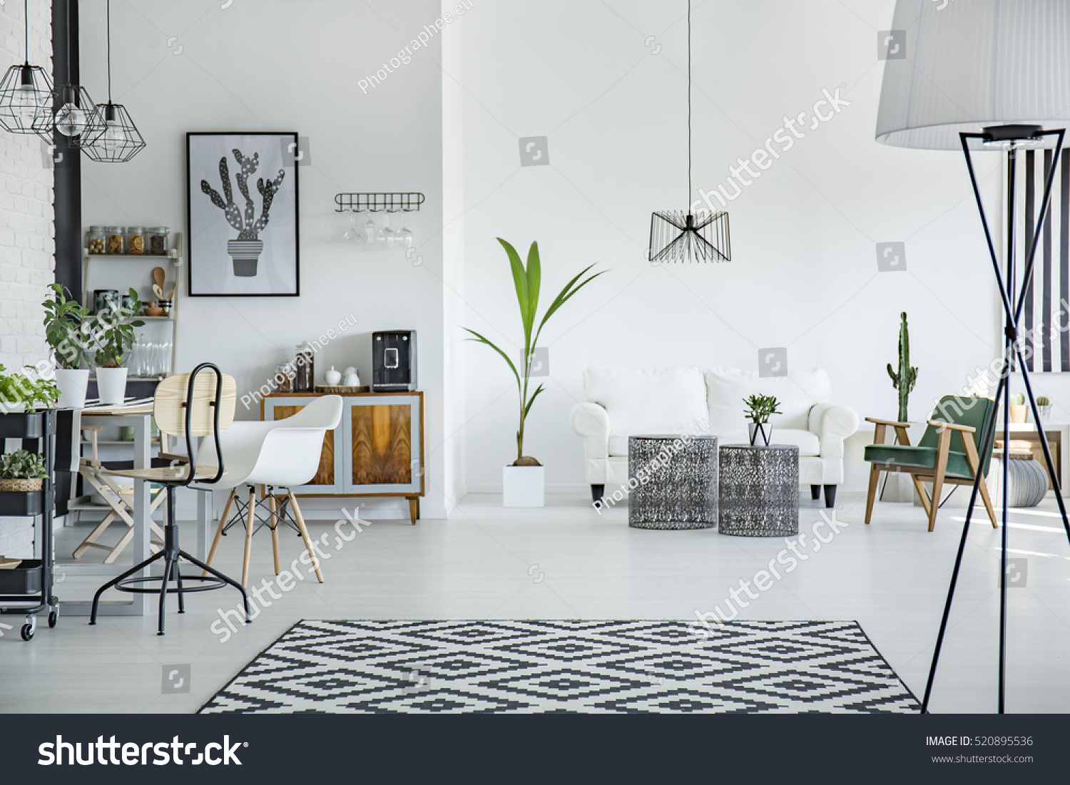 white loft interior scandinavian style pattern stock photo white loft interior in scandinavian style with pattern carpet